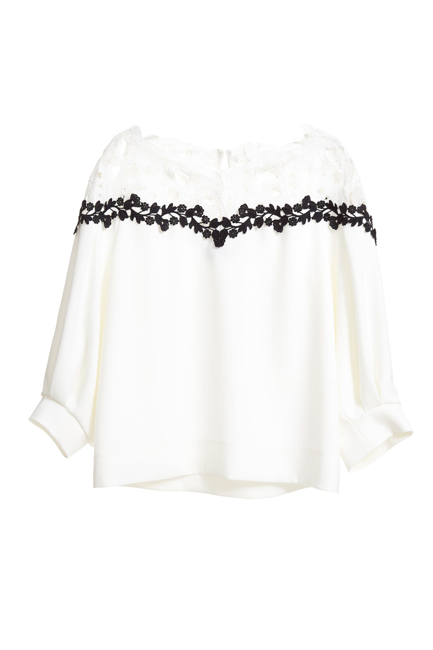 Micro-transparent stitching top,3/4sleevetop,top,whitetop