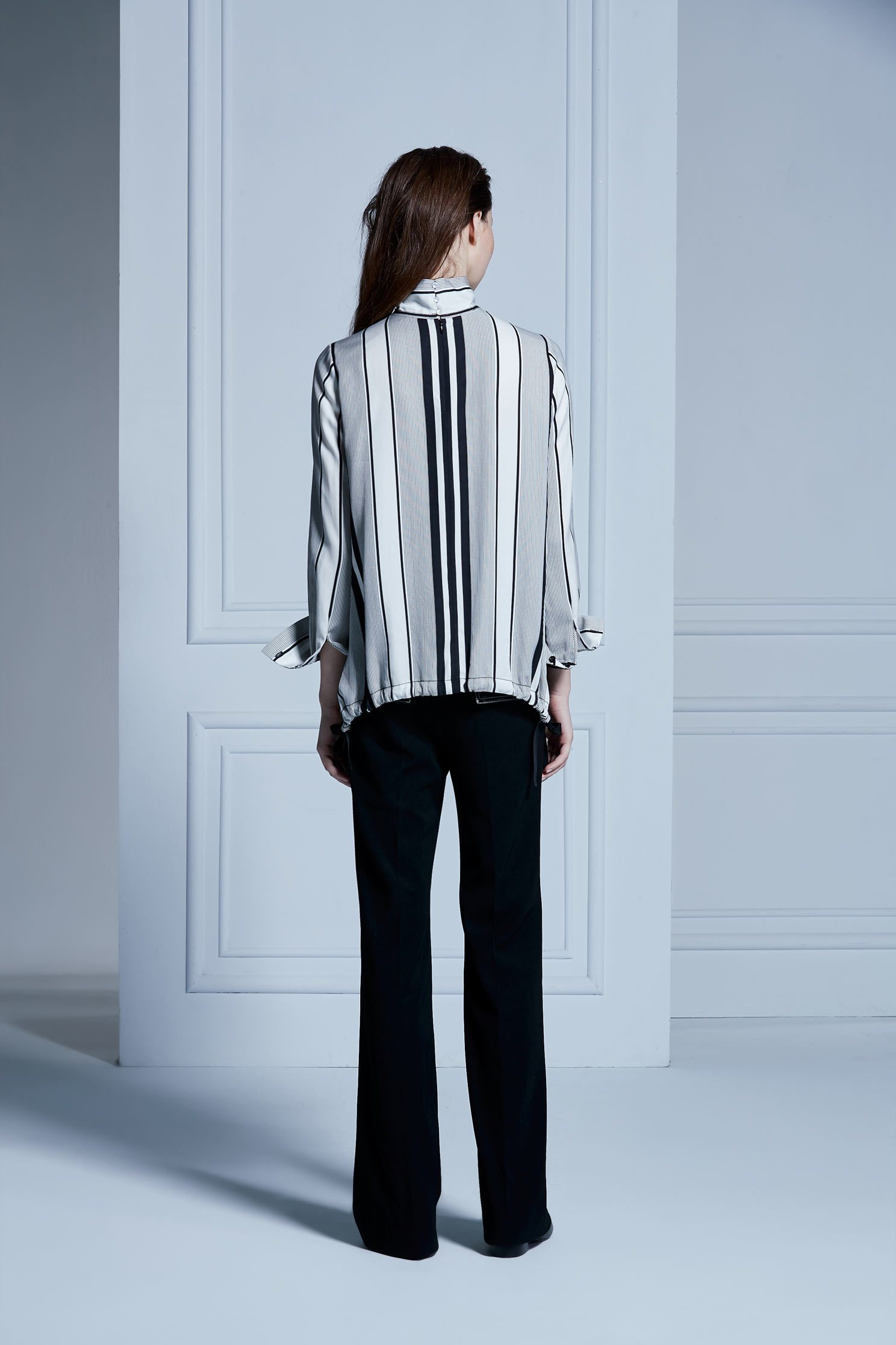 INVERTED LAPEL COLLAR top,Top,Rayon,Long top,長袖上衣