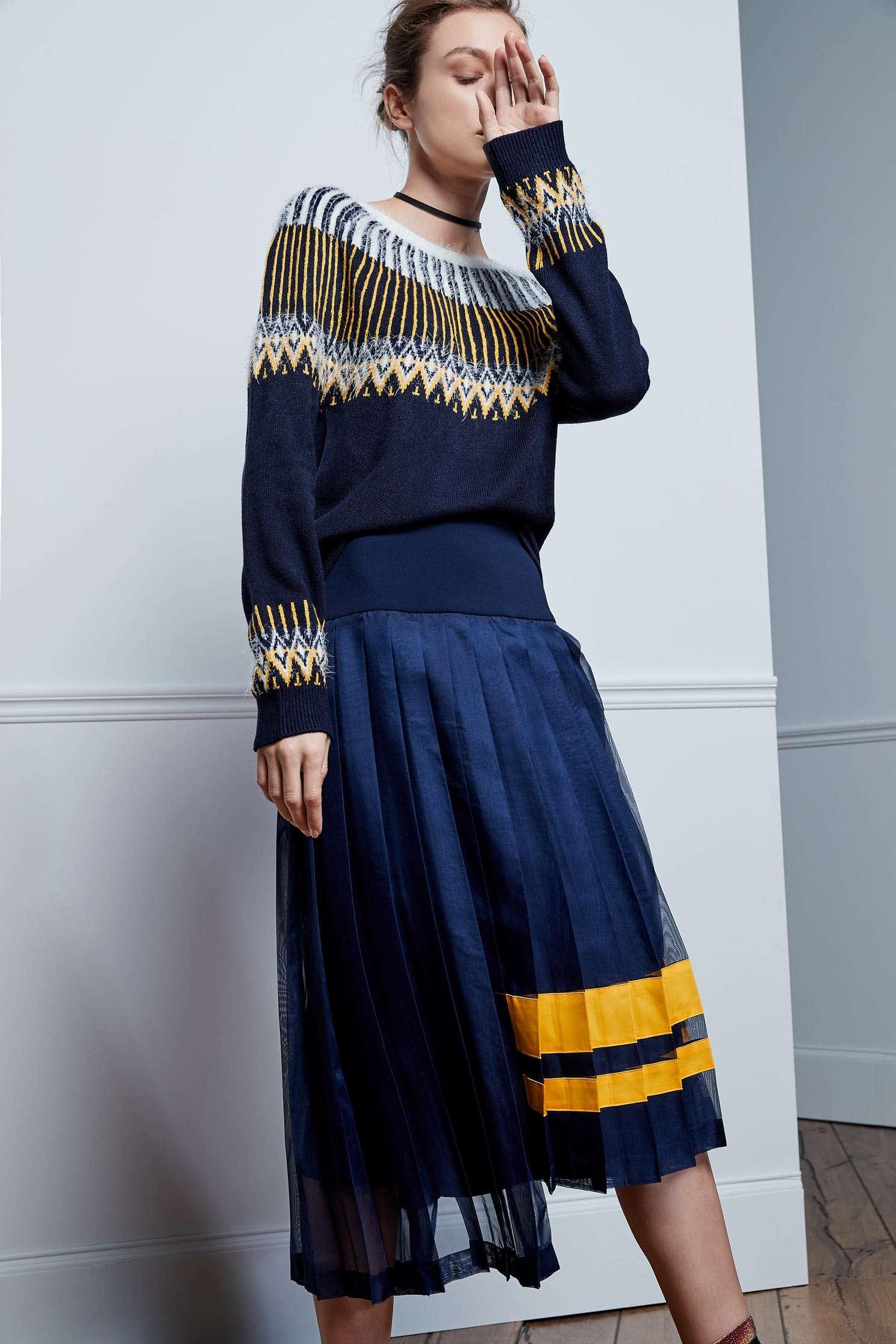 Floral ball collar knit tops,Top,圓領上衣,knitting,Knitted top,Knitted Top,長袖上衣