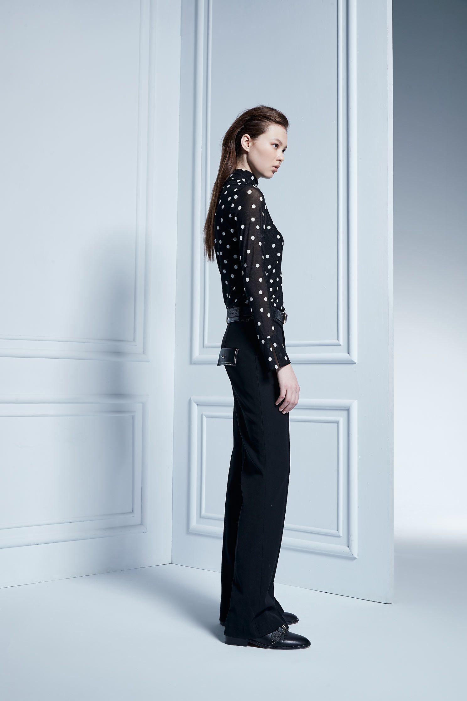 Large polka dot high-necked long-sleeved top,Top,透膚上衣,長袖上衣,Turtleneck top,黑色上衣
