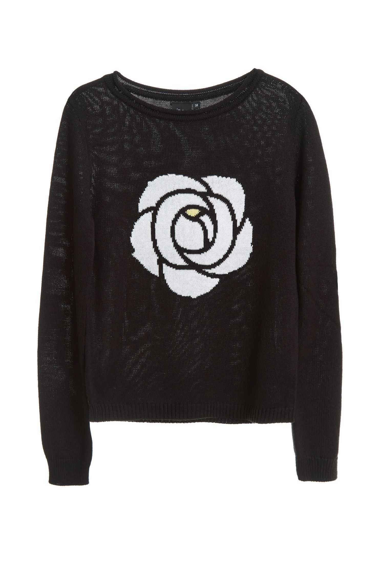 A rose sweater,roundnecktop,knitting,knittedtop,knittedtop,longsleevetop,blacktop