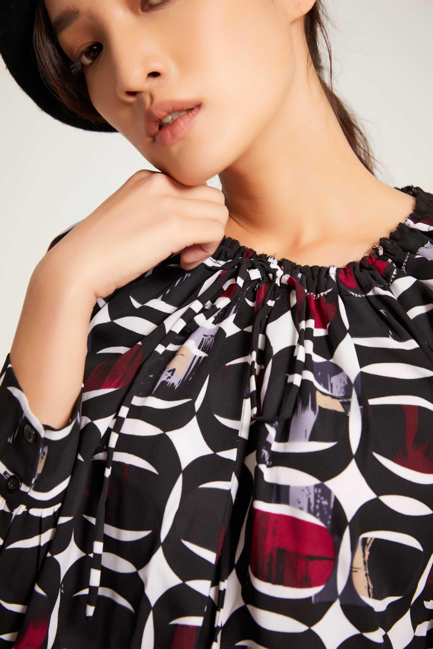 Printed long-sleeved top,Top,Fantasy purple,長袖上衣