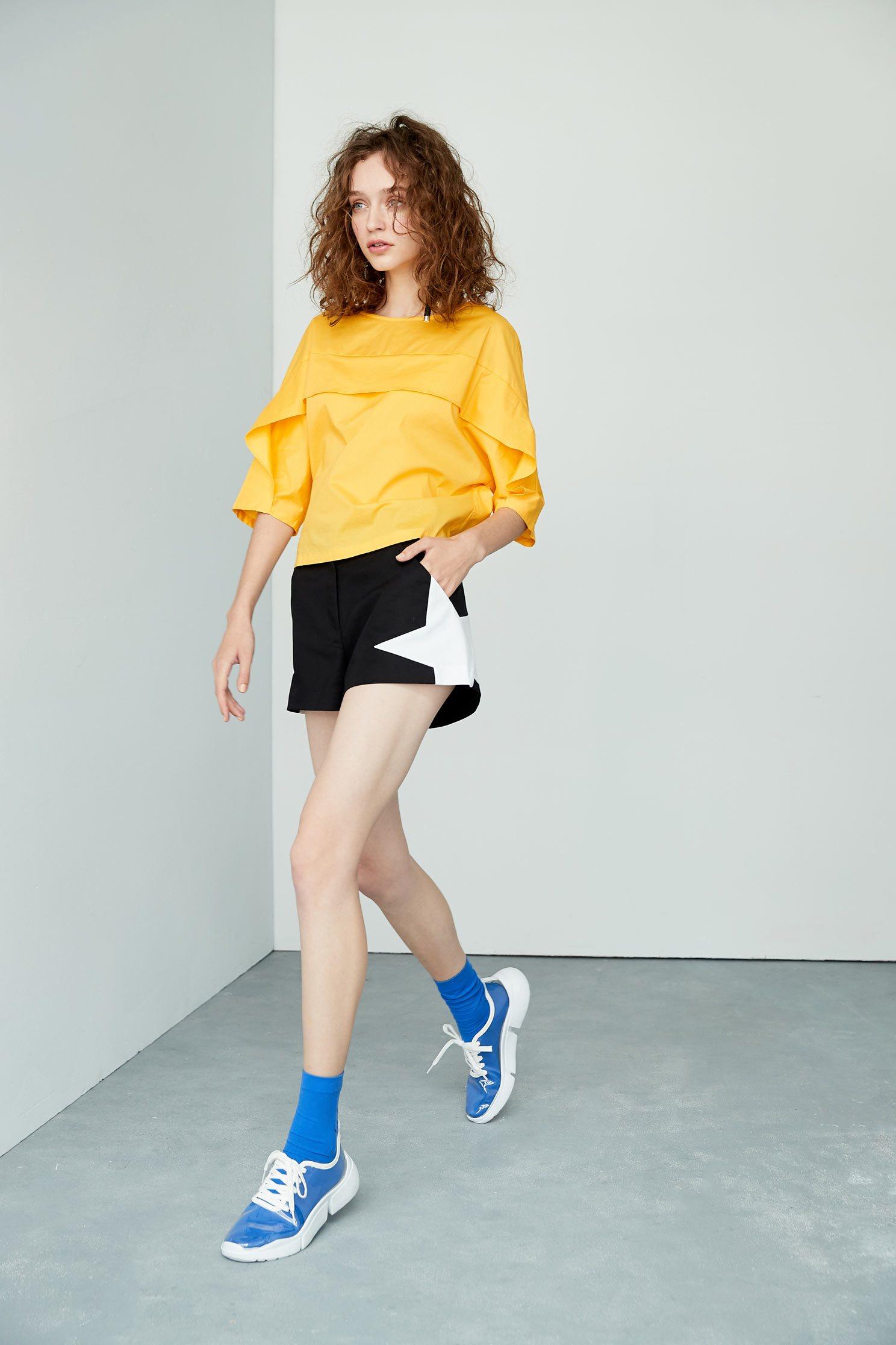 Temperament three-quarter sleeve top,七分袖上衣,Top,圓領上衣,Cotton