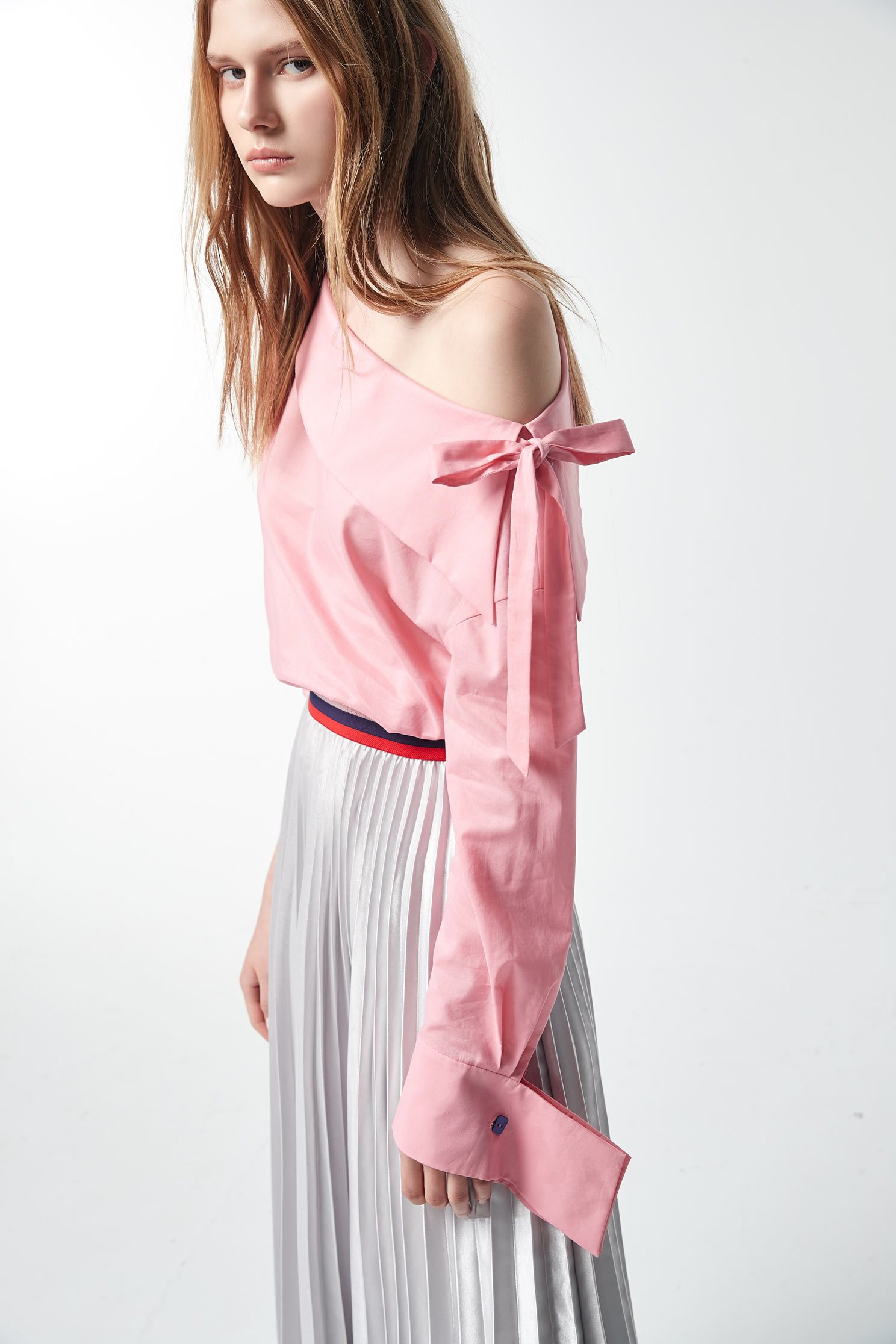Blue / Pink Svelte Dress,Top,Shoulder Top,Cotton,Blouse,長袖上衣
