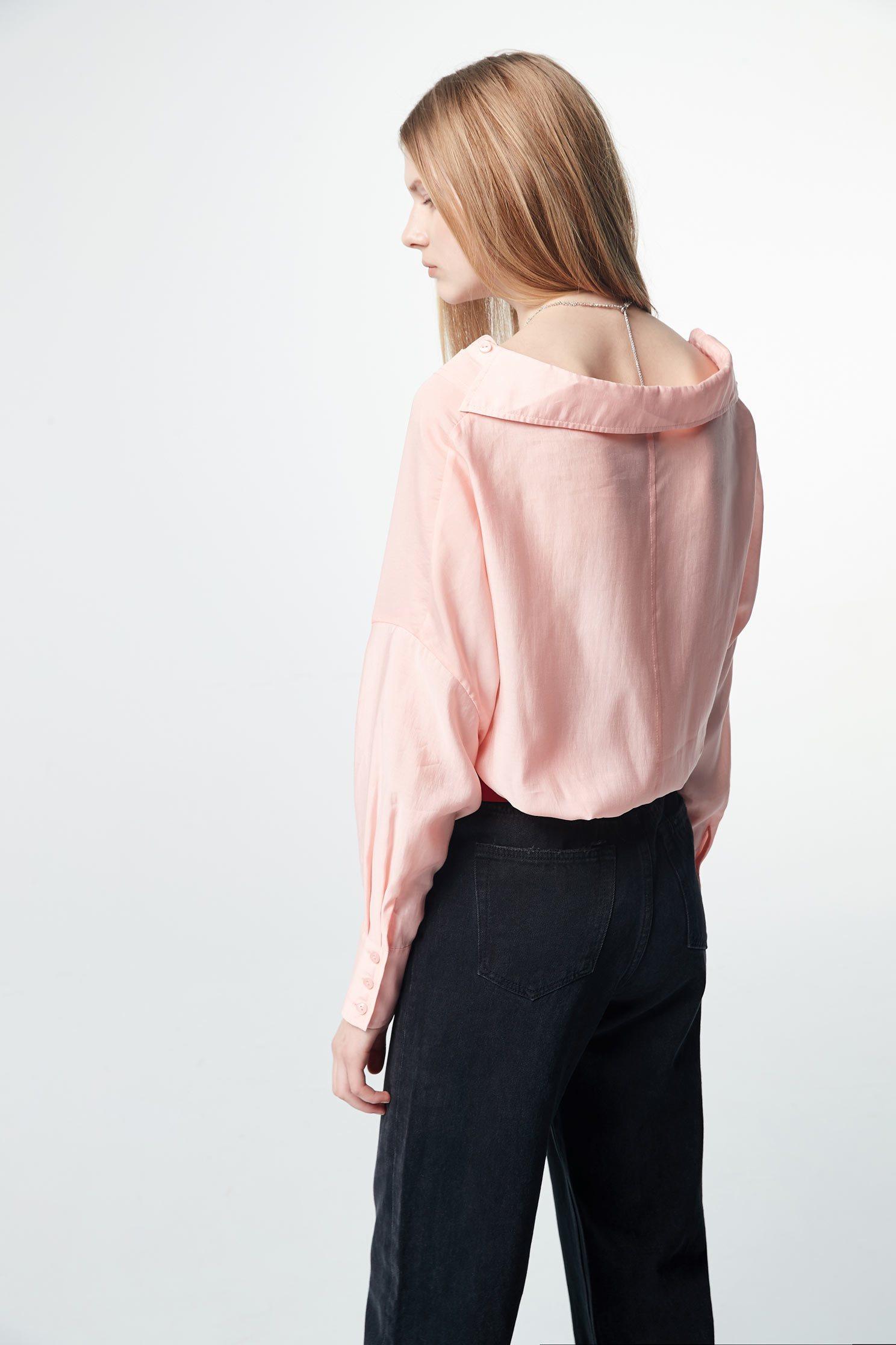 Back-pour long-sleeved thin shirt,top,valentine,i-select,blouse,longsleevetop,girlfriendsspringtour