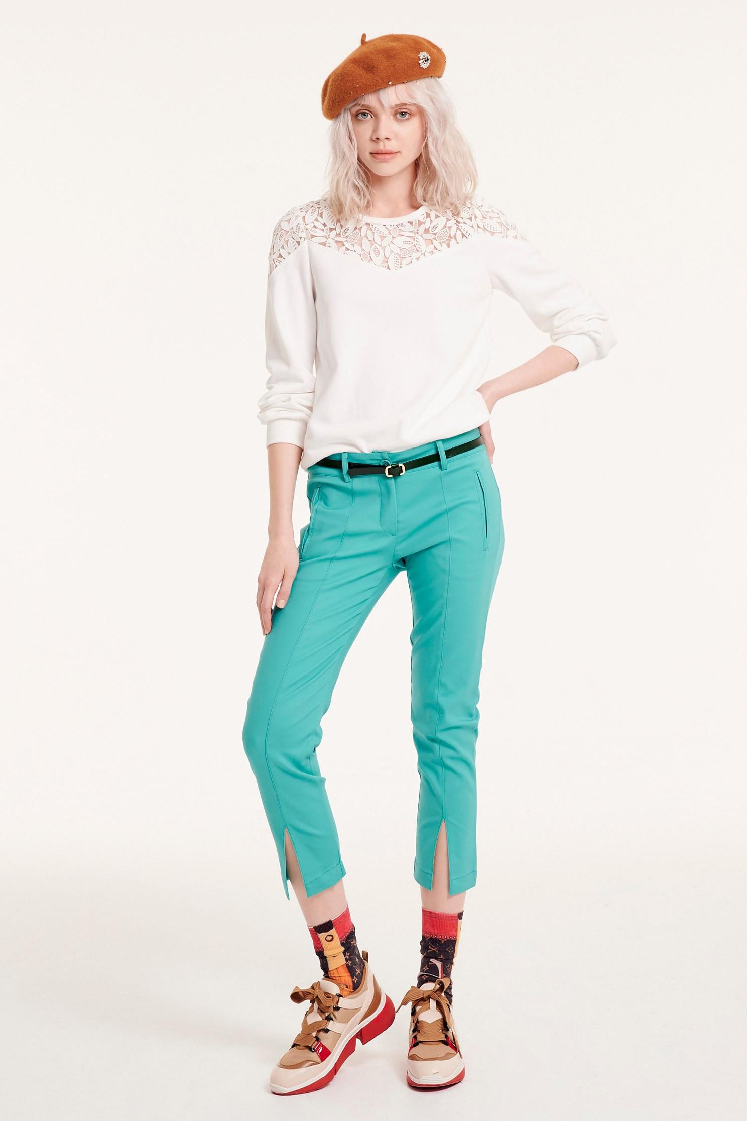 Lace SWEATER,七分袖上衣,Top,圓領上衣,白色上衣,Lace,Laced Top