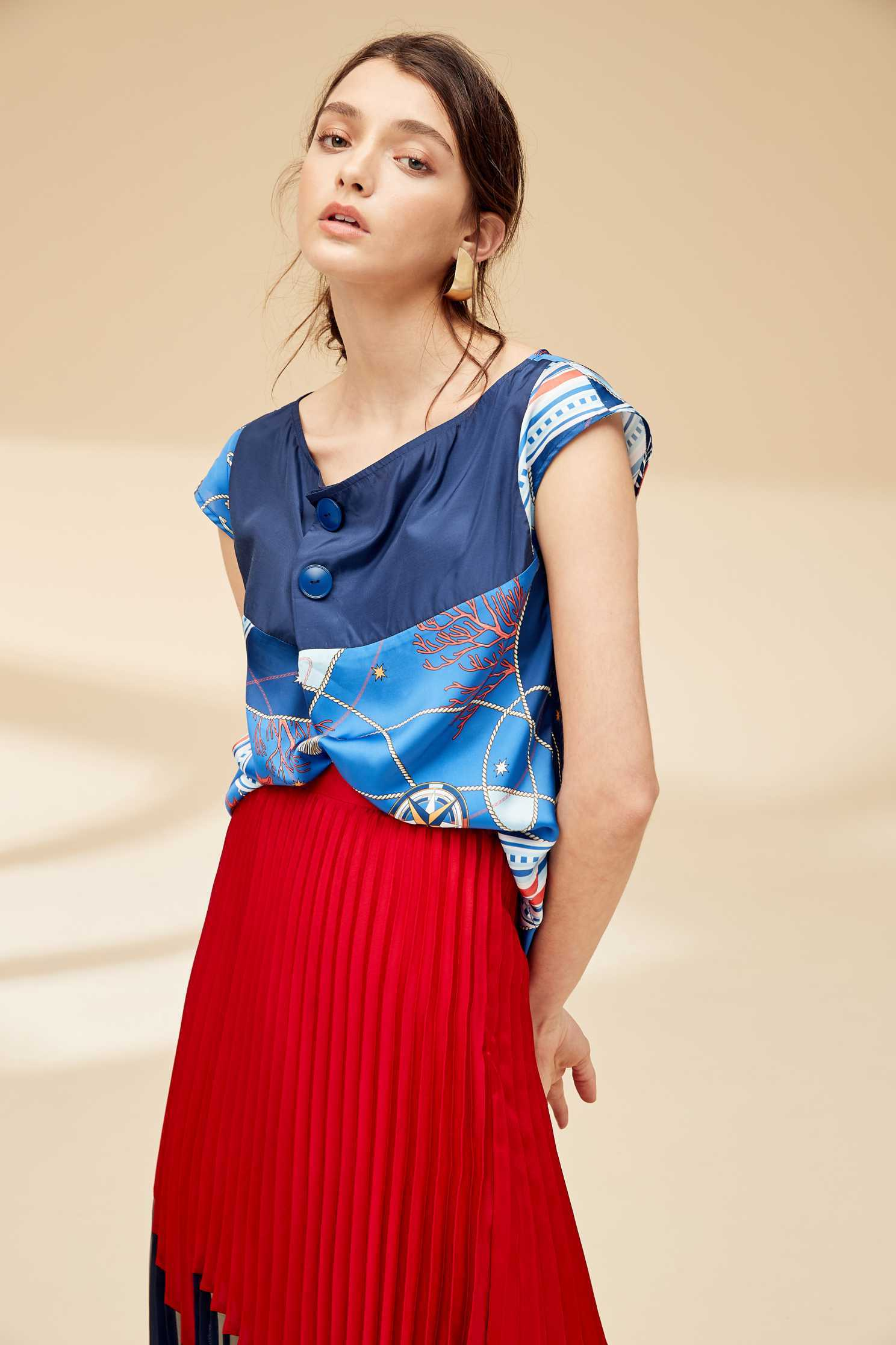Ocean sytle fashion top,top,roundnecktop,shortsleevetop
