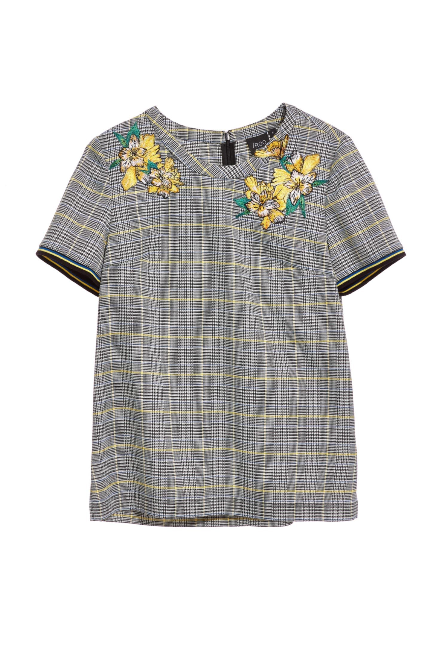 Classic England checkered Design embroidery Short Sleeve Top,top,embroidery,embroideredtop,shortsleevetop,embroidered,embroideredtop