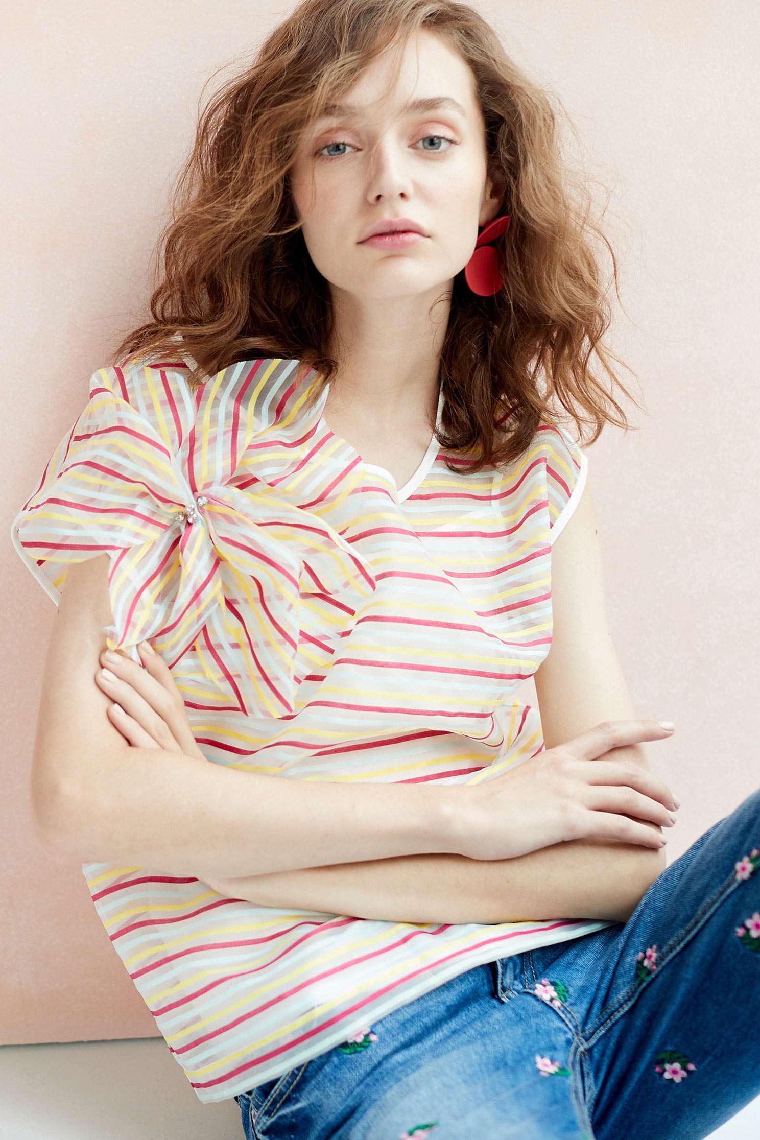 Striped translucent top