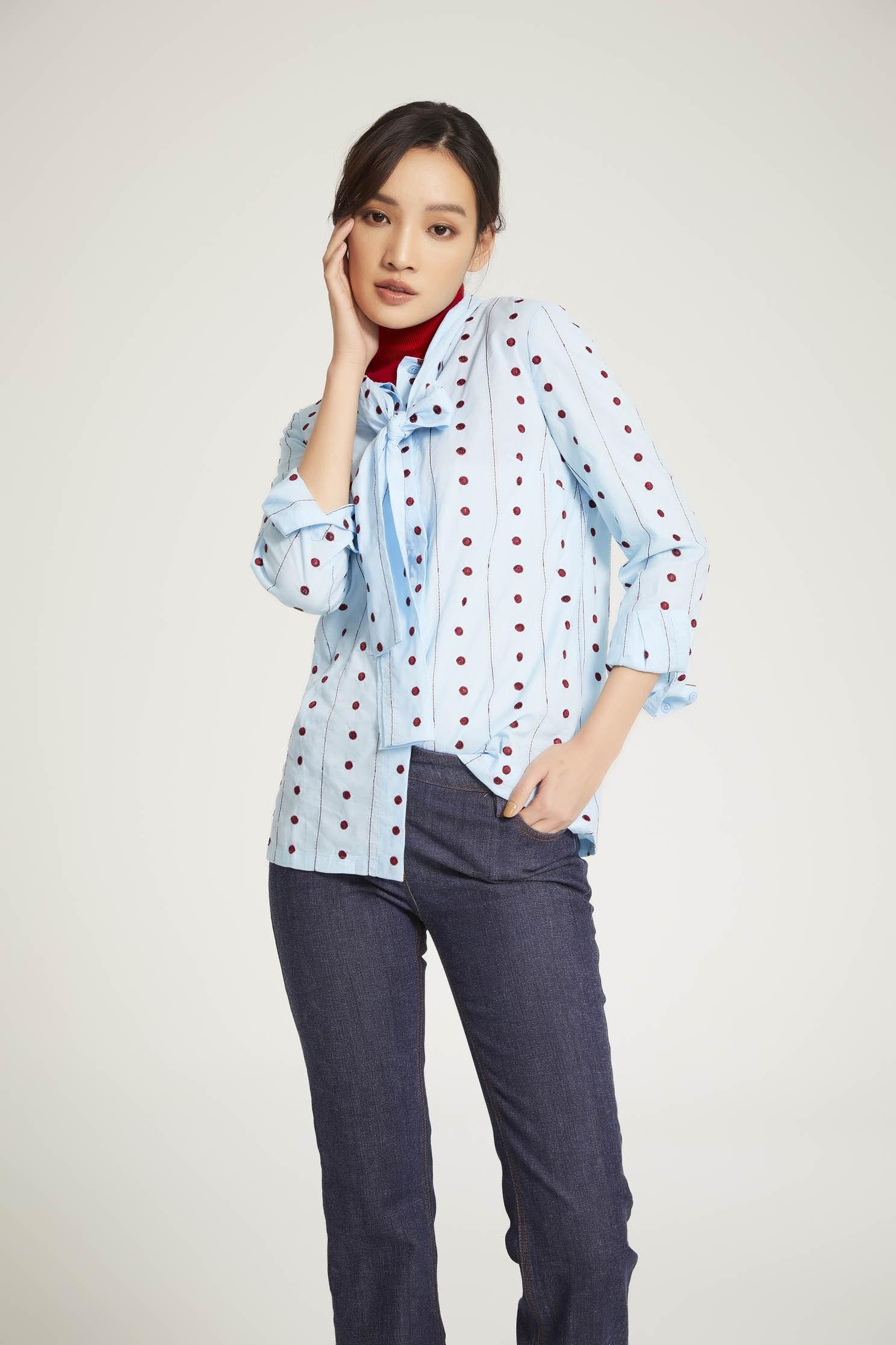 printed knotted shirt,Blouse,Fairlsle life,長袖上衣