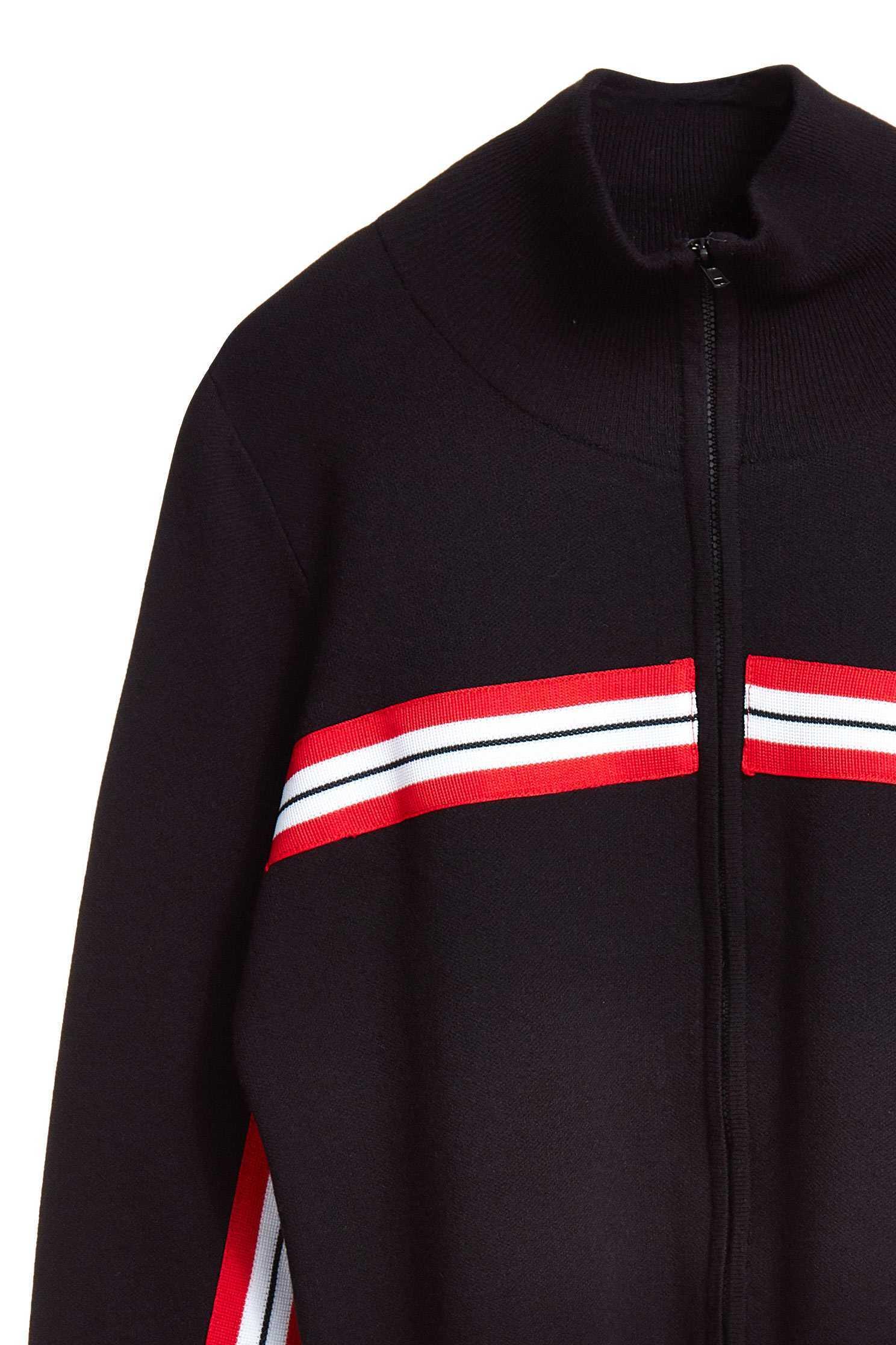 High neck design top with sporty webbing decoration,top,outerwear,knitting,knittedtop,knittedjacket,longsleevetop,longsleeveouterwear,blackouterwear