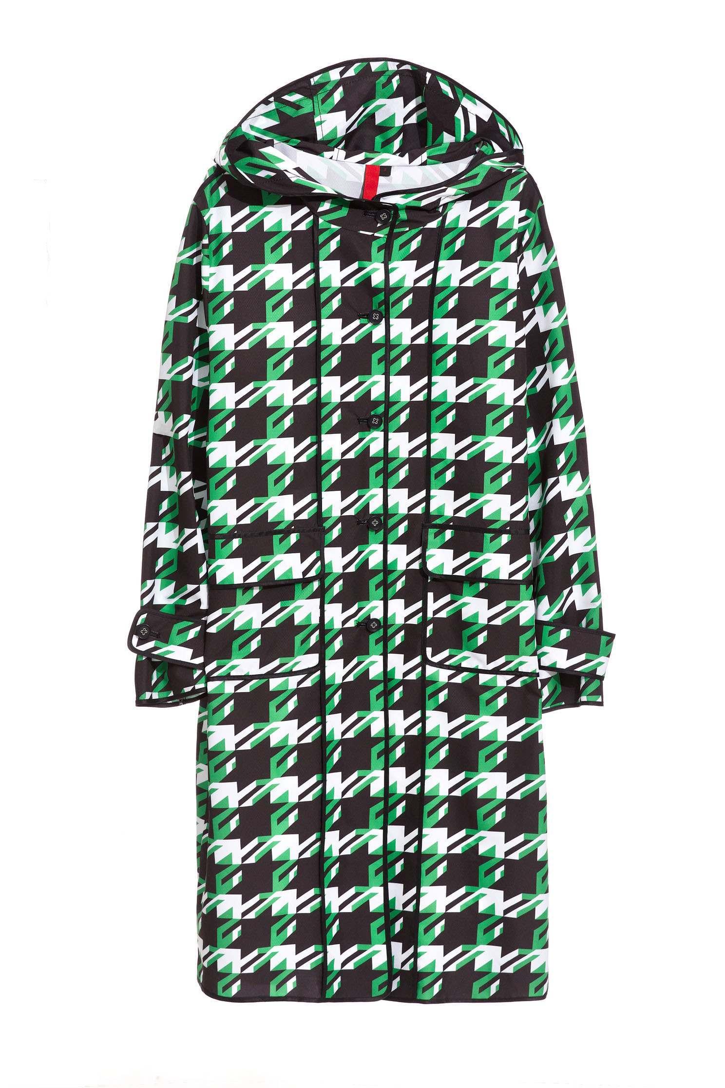 Houndstooth Pop Design Long Sleeve Jacket,outerwear,longcoat,longsleeveouterwear