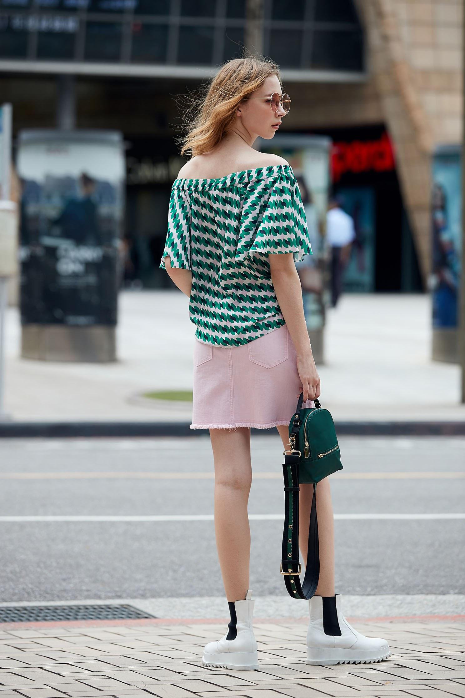 Pink denim skirt with embroidery,miniskirt,pencilskirt,cotton