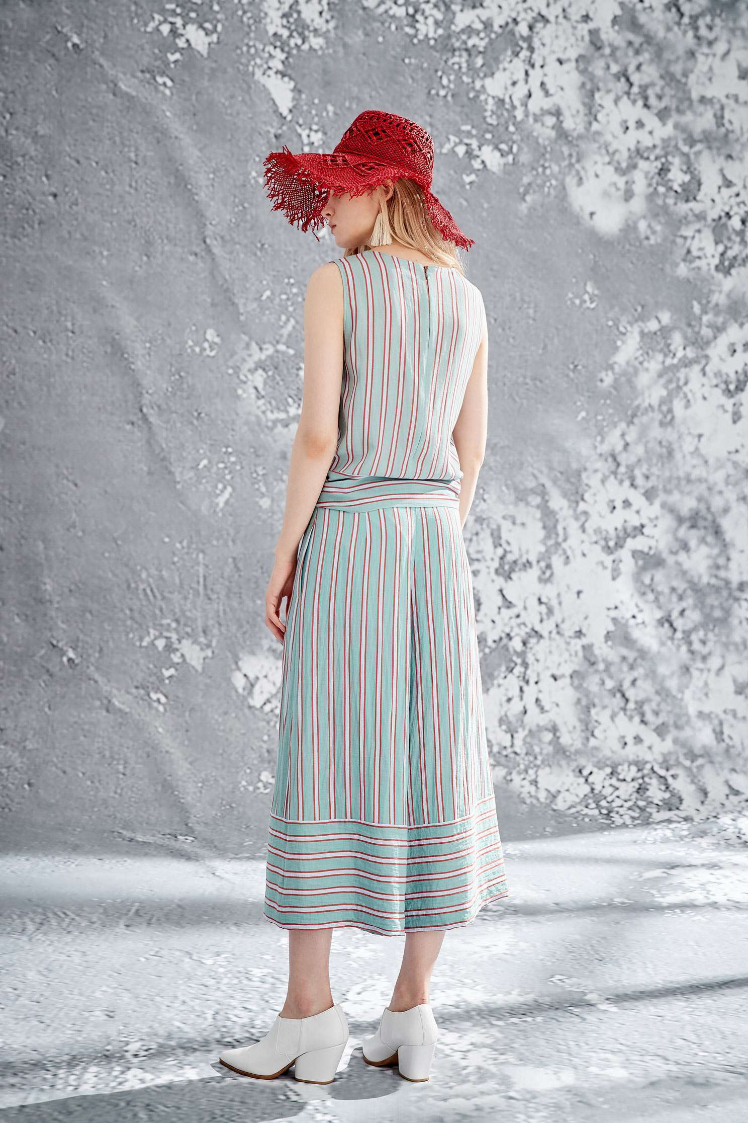 Color strips culottes,culottespants,pants,wasthin