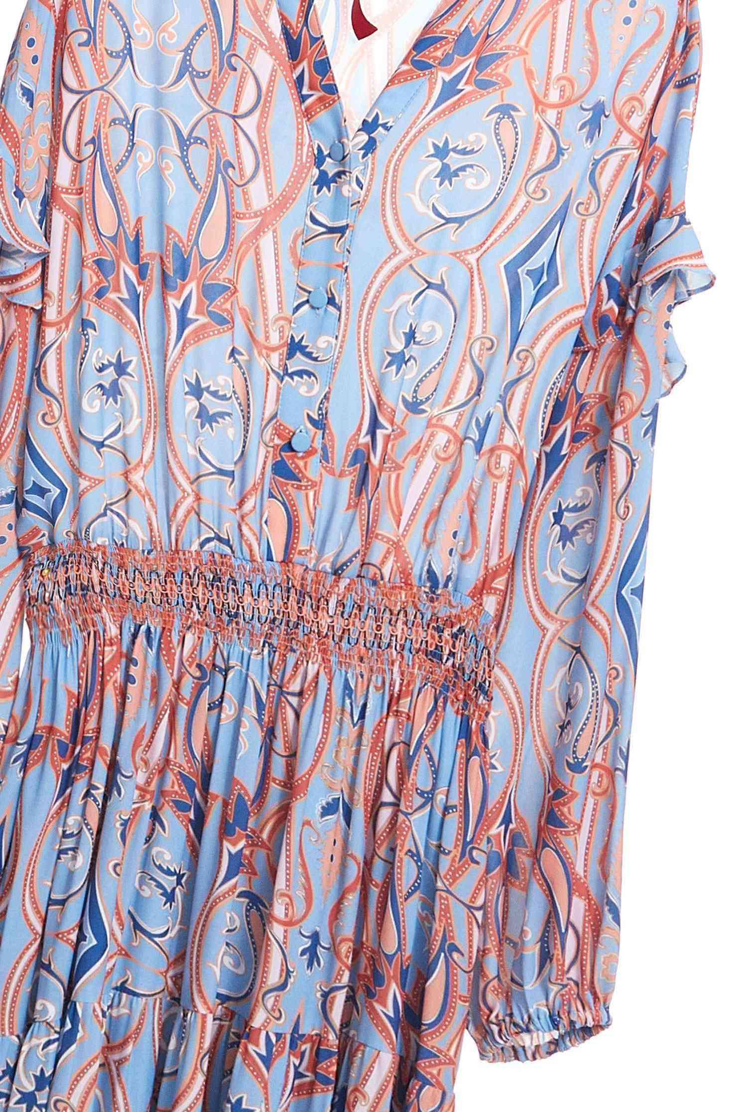 Printed street soft dress,v-neckdress,dress,printeddress,longdress,longsleevedress