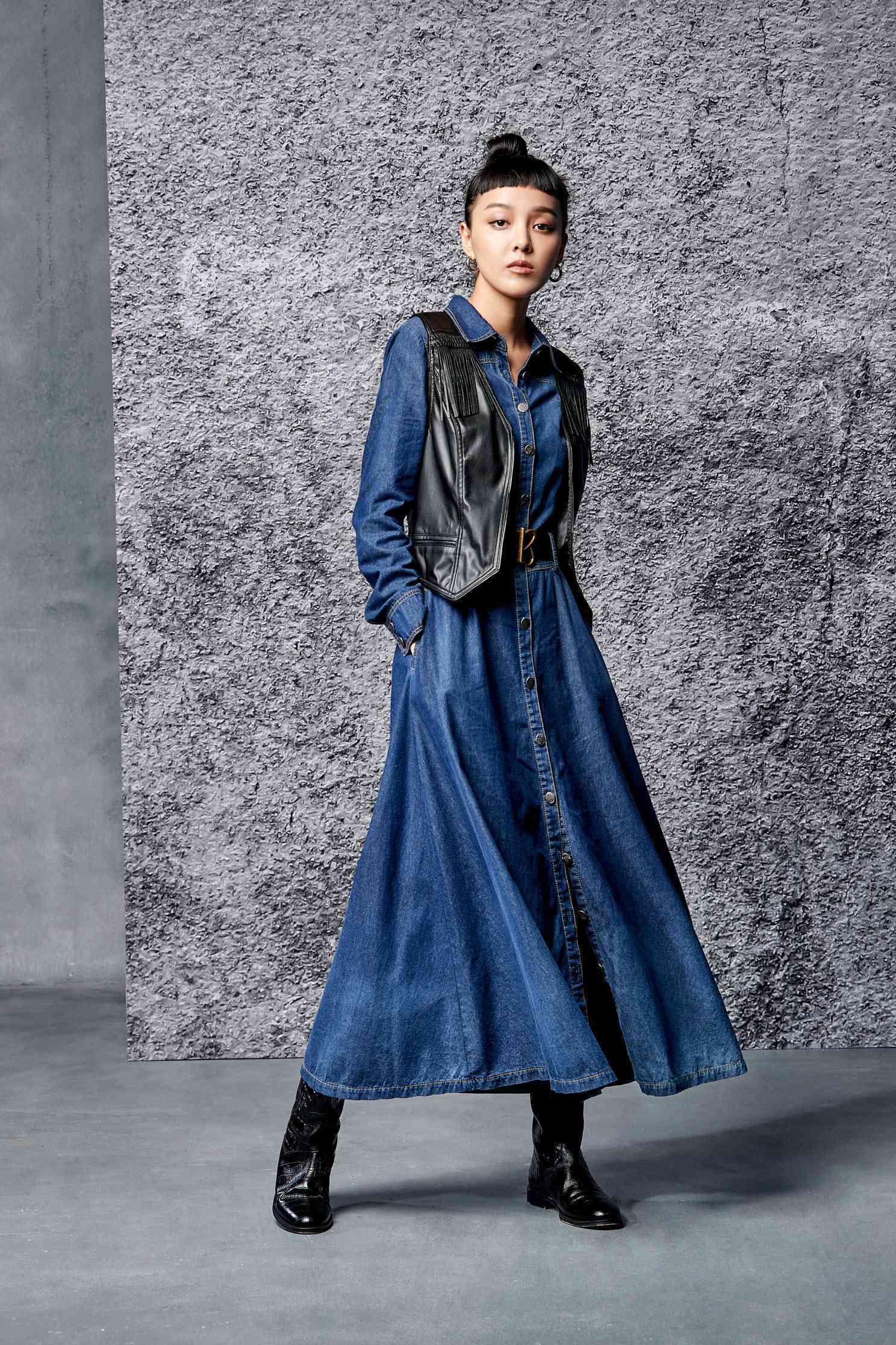 Denim street hip-hop dress,tanning,casualdress,cowboy,valentine,cotton,longdress,longsleevedress
