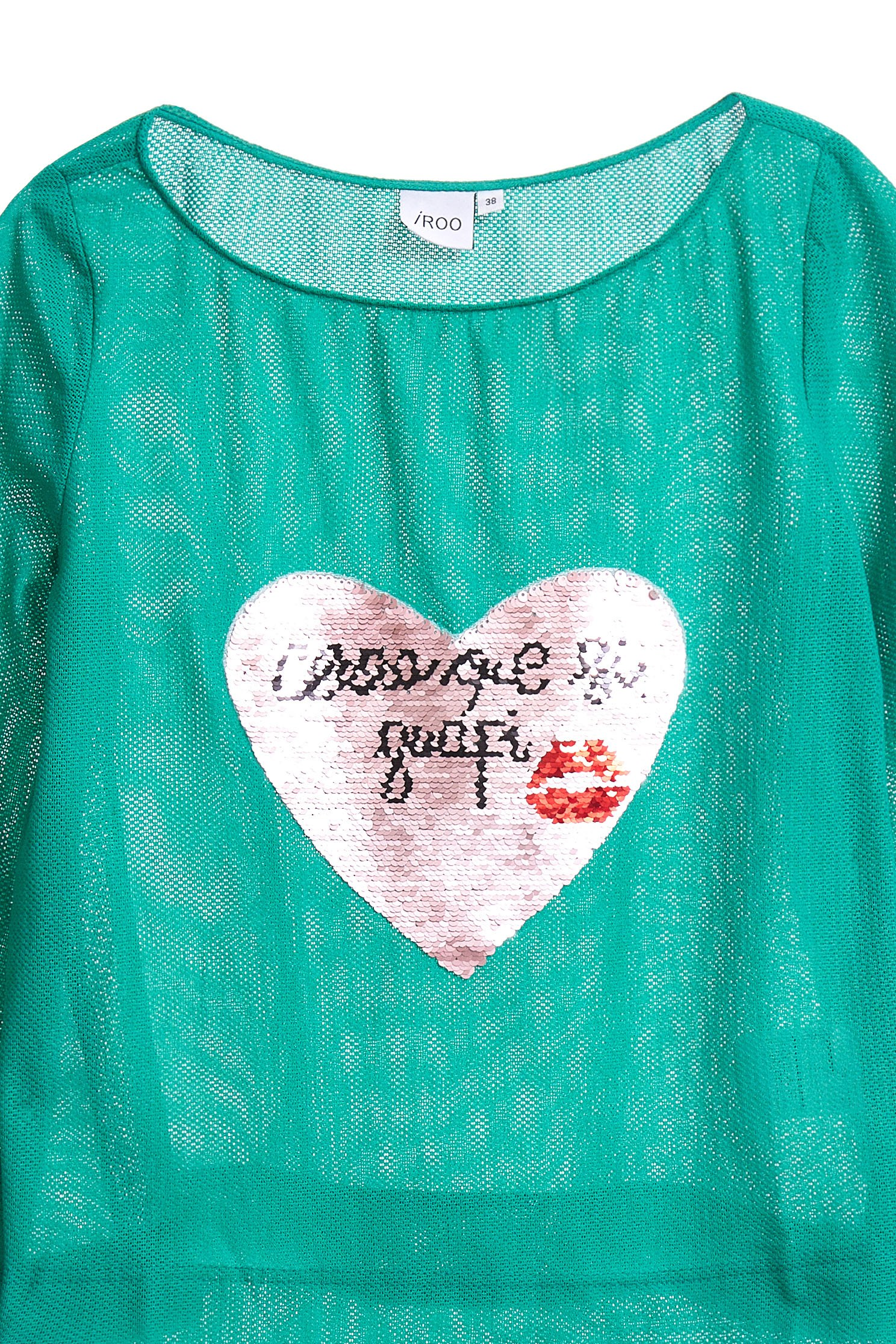 Wide collar top with heart printing,Top,長袖上衣