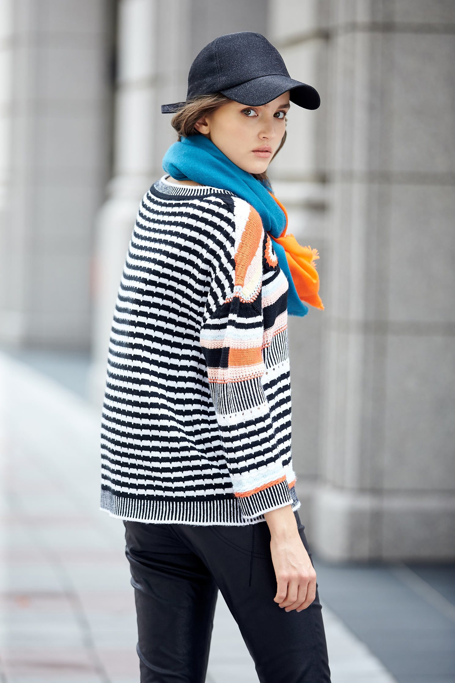 Irregular Stripe fashion tops,top,knitting,knittedtop,knittedtop,longsleevetop