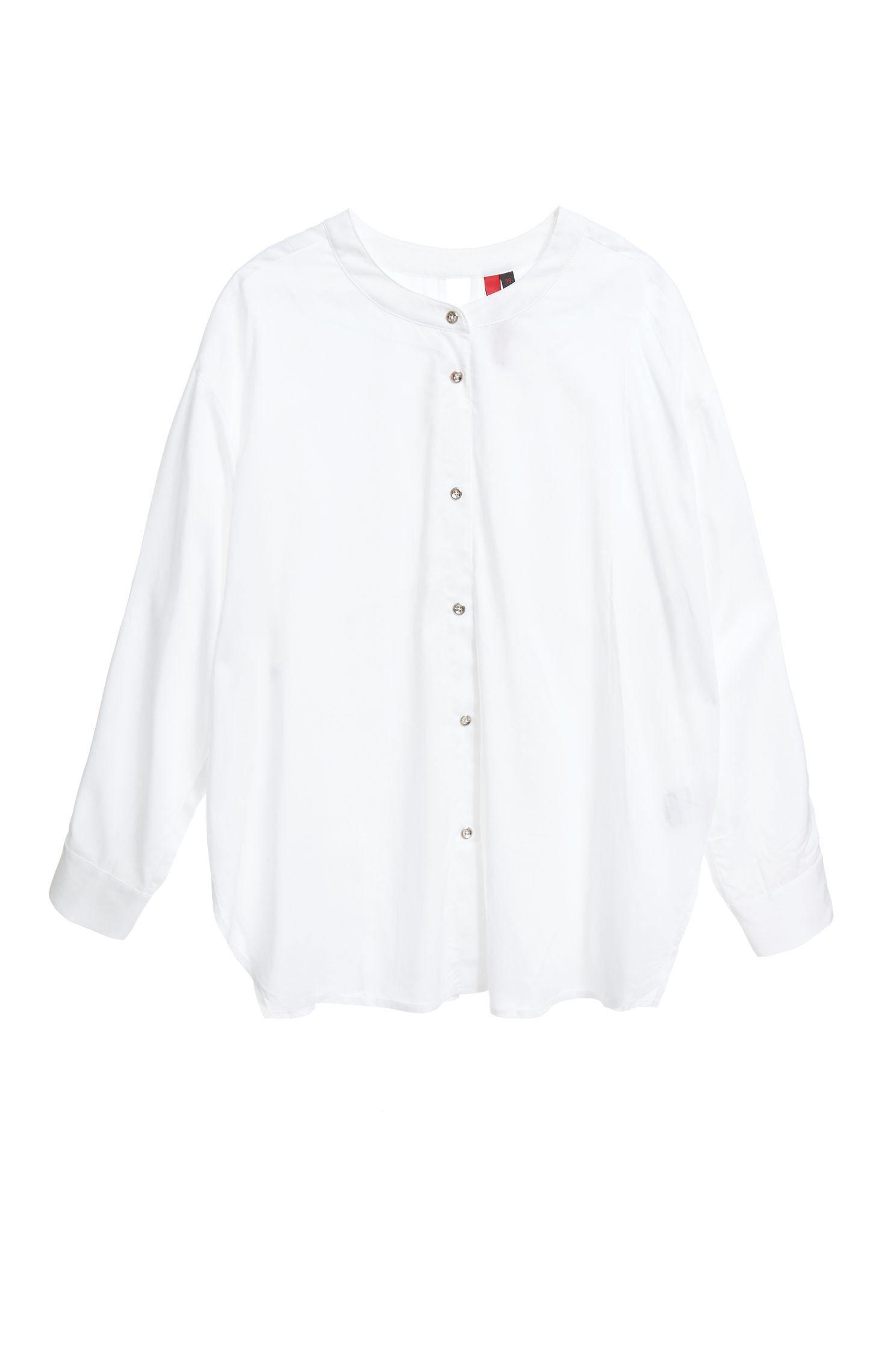 Flowing round-necked shirt,圓領上衣,白色上衣,Blouse,Long top,Long shirt,長袖上衣
