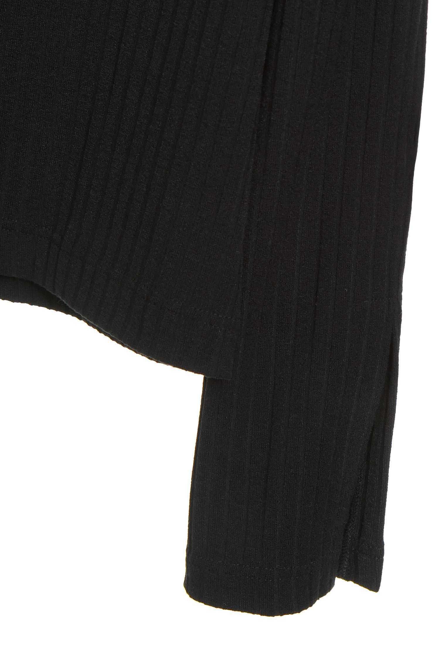 Lapel long-sleeved T-shirt,T-Shirt,T恤,Off shoulder Top,Top,Off Shoulder Top,長袖上衣,黑色上衣