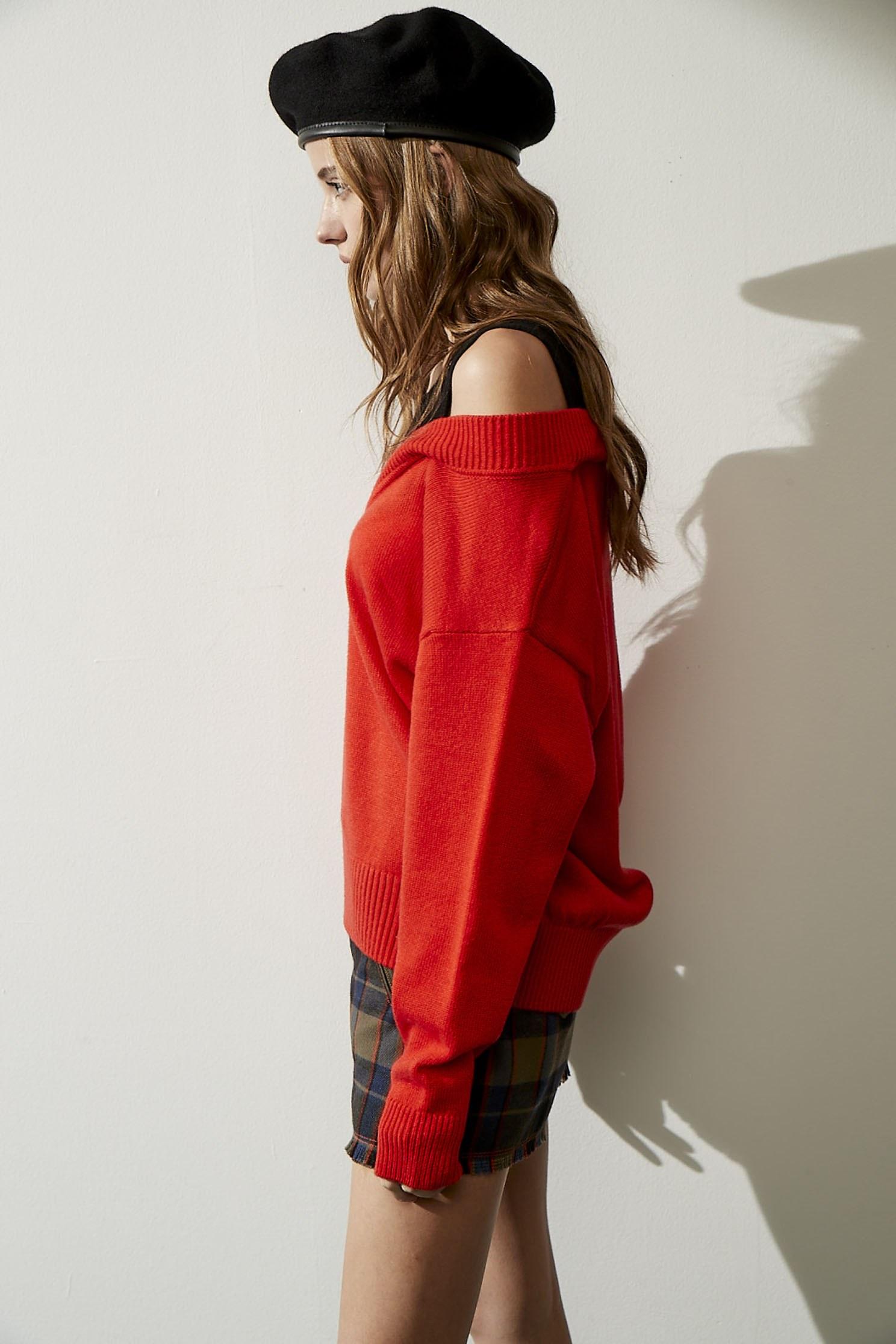 COMBINED KNIT SWEATER,shouldercuttop,knitting,knittedtop,knittedtop,longsleevetop
