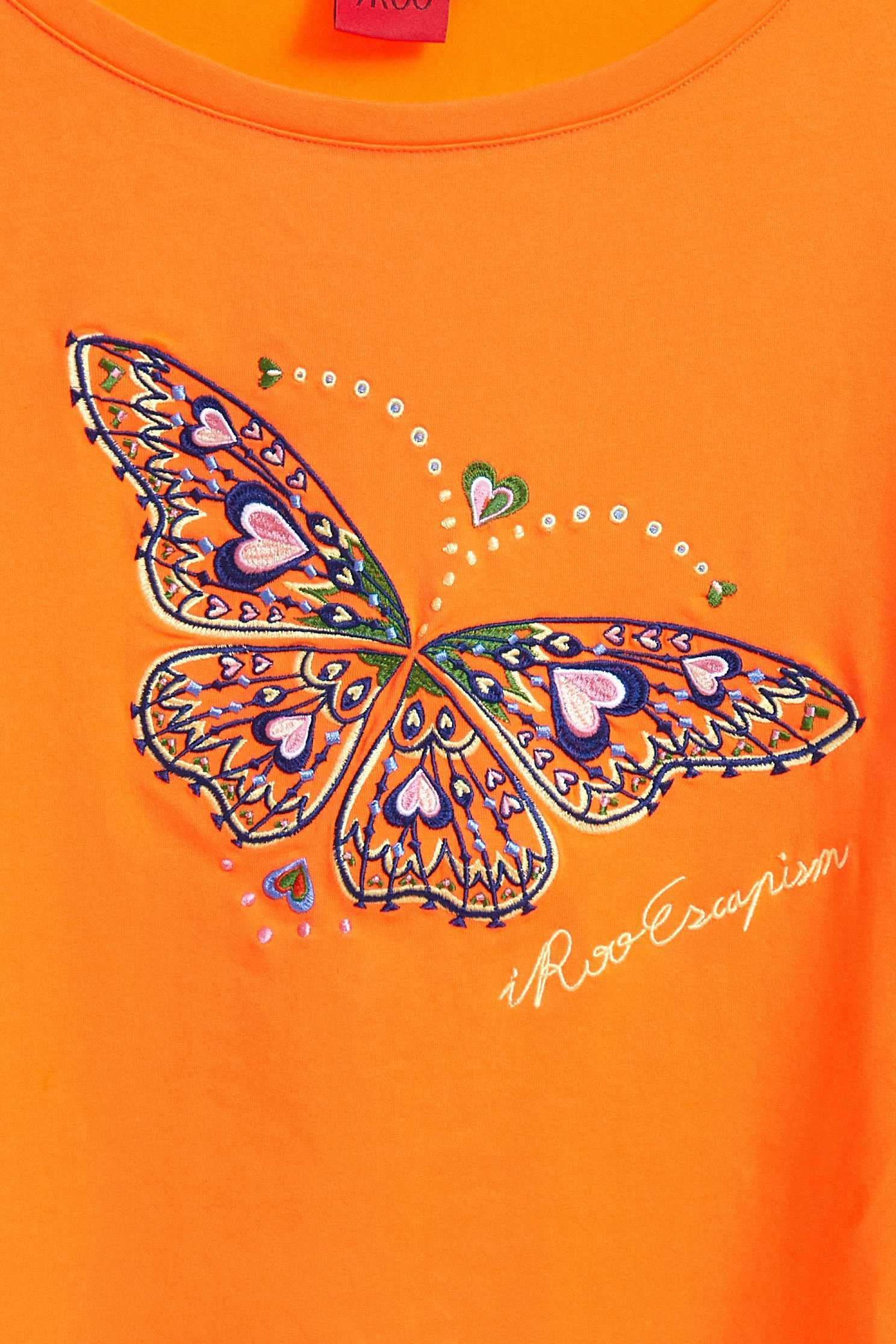 Butterfly shape popular shirt,top,elbowsleevetop,embroidery,embroideredtop,roundnecktop,embroidered,embroideredtop