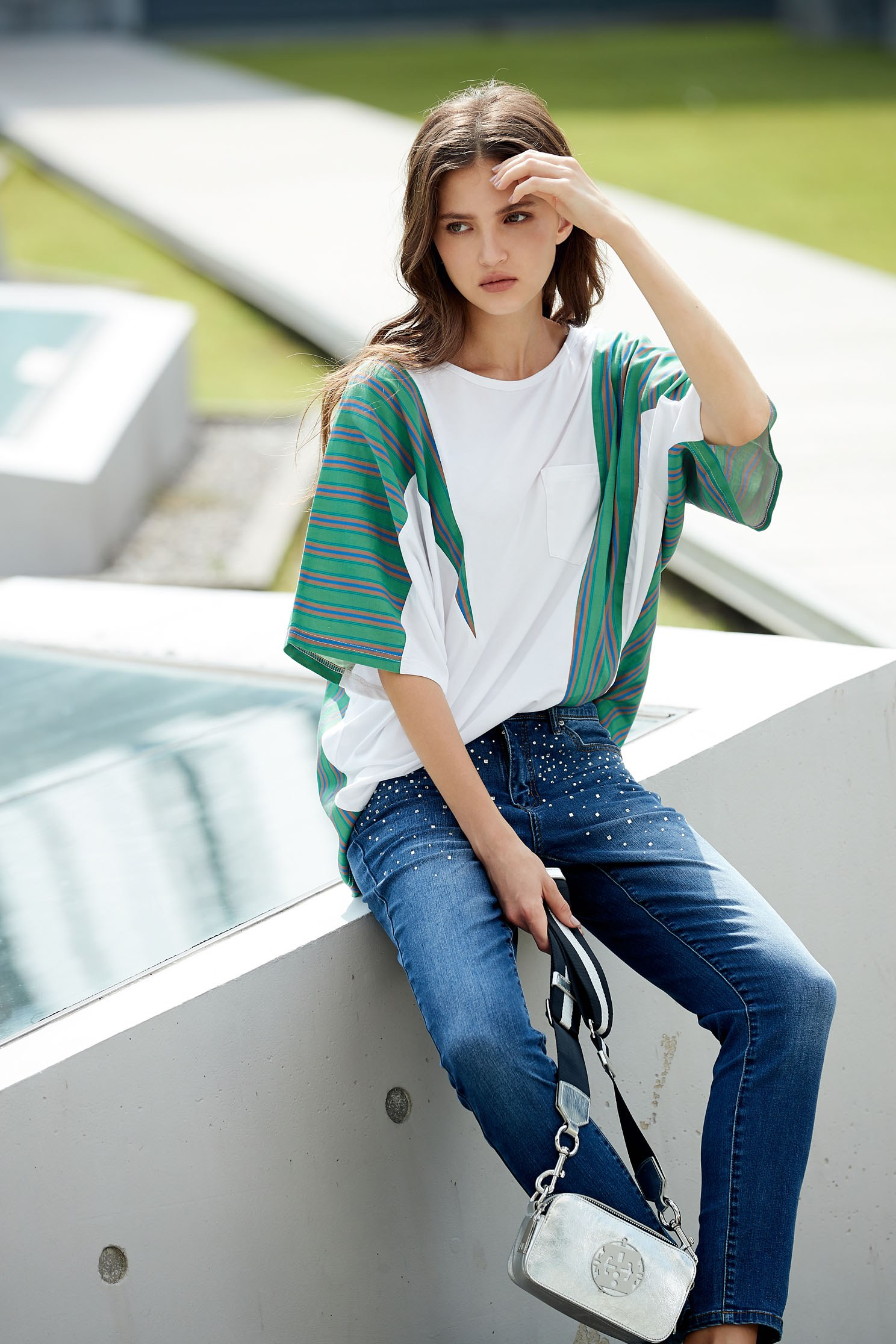 Stitching fashion design five-point sleeve shirt,top,elbowsleevetop,blouse