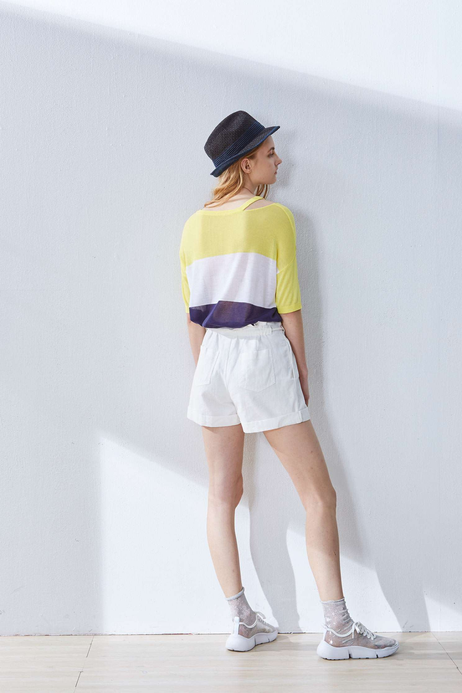 Contrast popular knit top,top,elbowsleevetop,roundnecktop,shortsleevetop,i-select,knitting,knittedtop,knittedtop