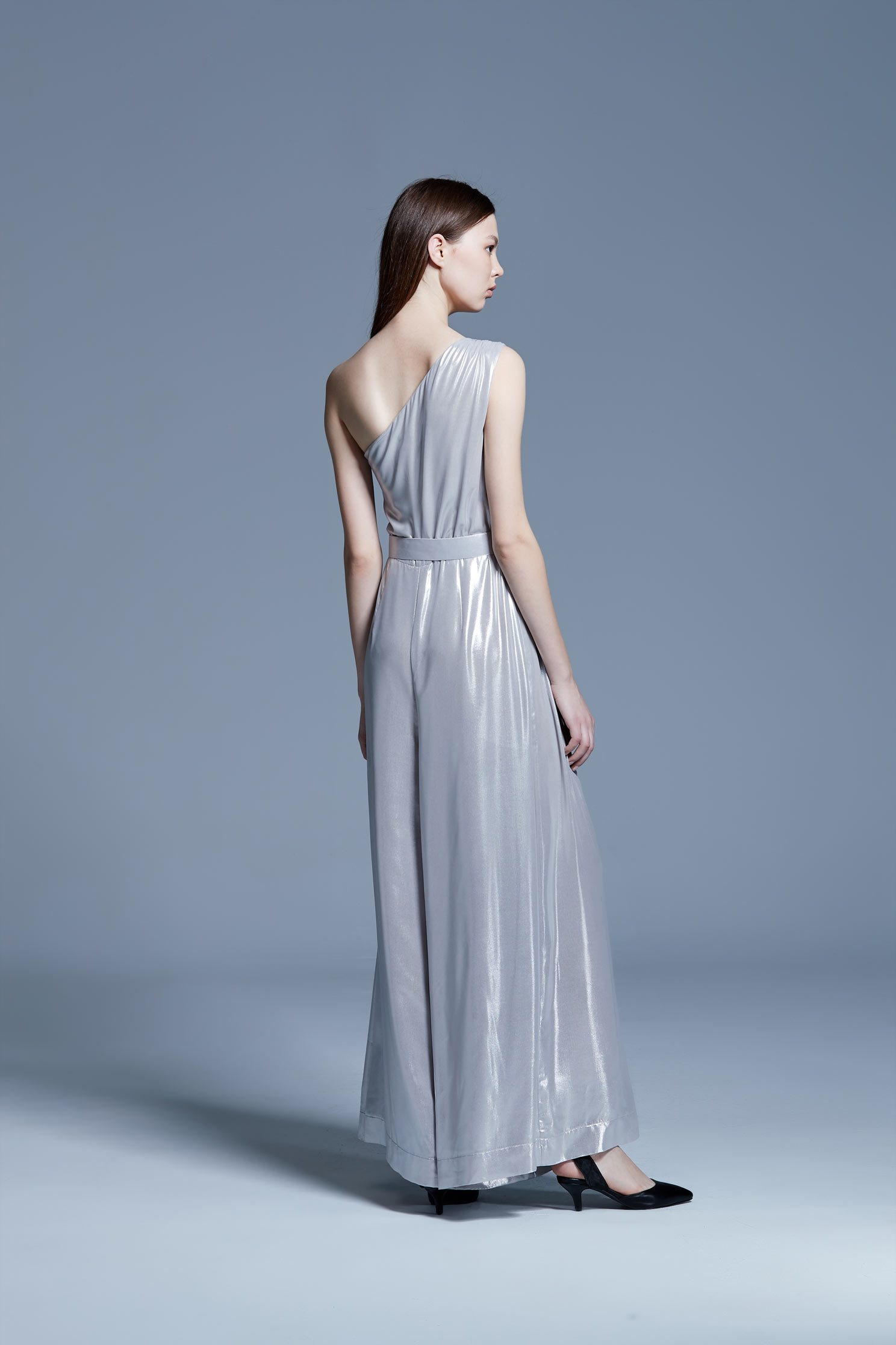 Water-light silver satin jumpsuit wide-leg pants,culottespants,cocktaildress,eveningwear,pants,jumpsuit