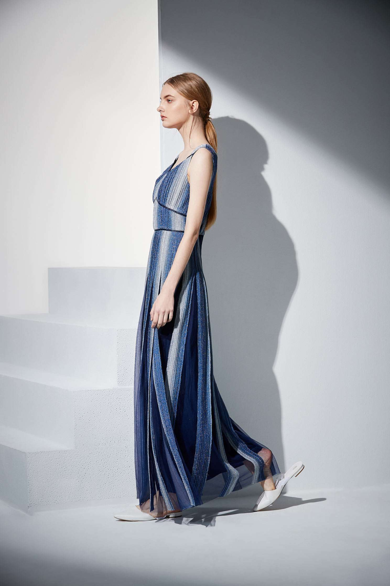 Gradient navy blue dress,Cocktail Dress,無袖洋裝,Evening Wear,Long dress
