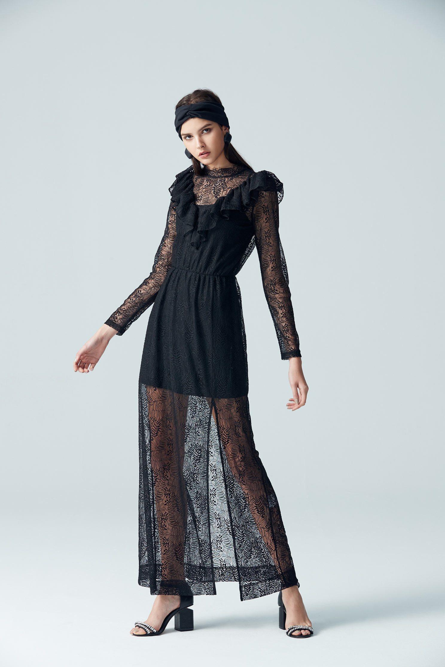 Gorgeous design dress,cocktaildress,lace,lacedress,perspectivedress,longsleevedress,blackdress