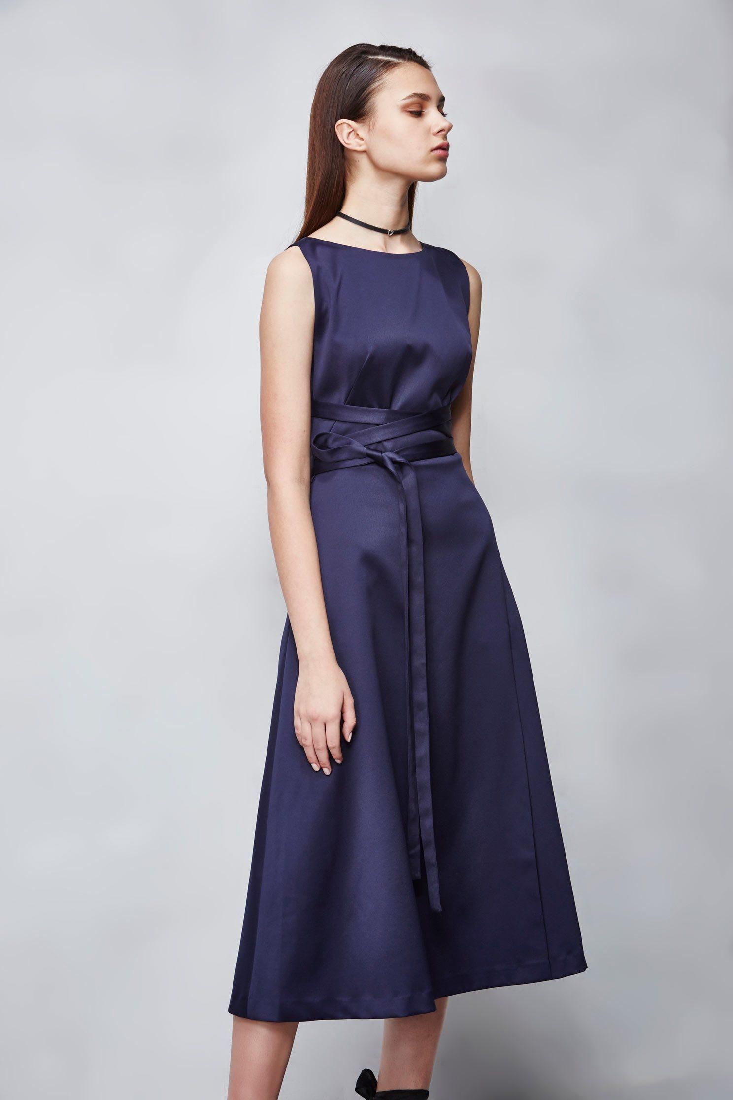 Cross ribbon blue satin dress,Cocktail Dress,無袖洋裝,Evening Wear,Lace,Lace Dress