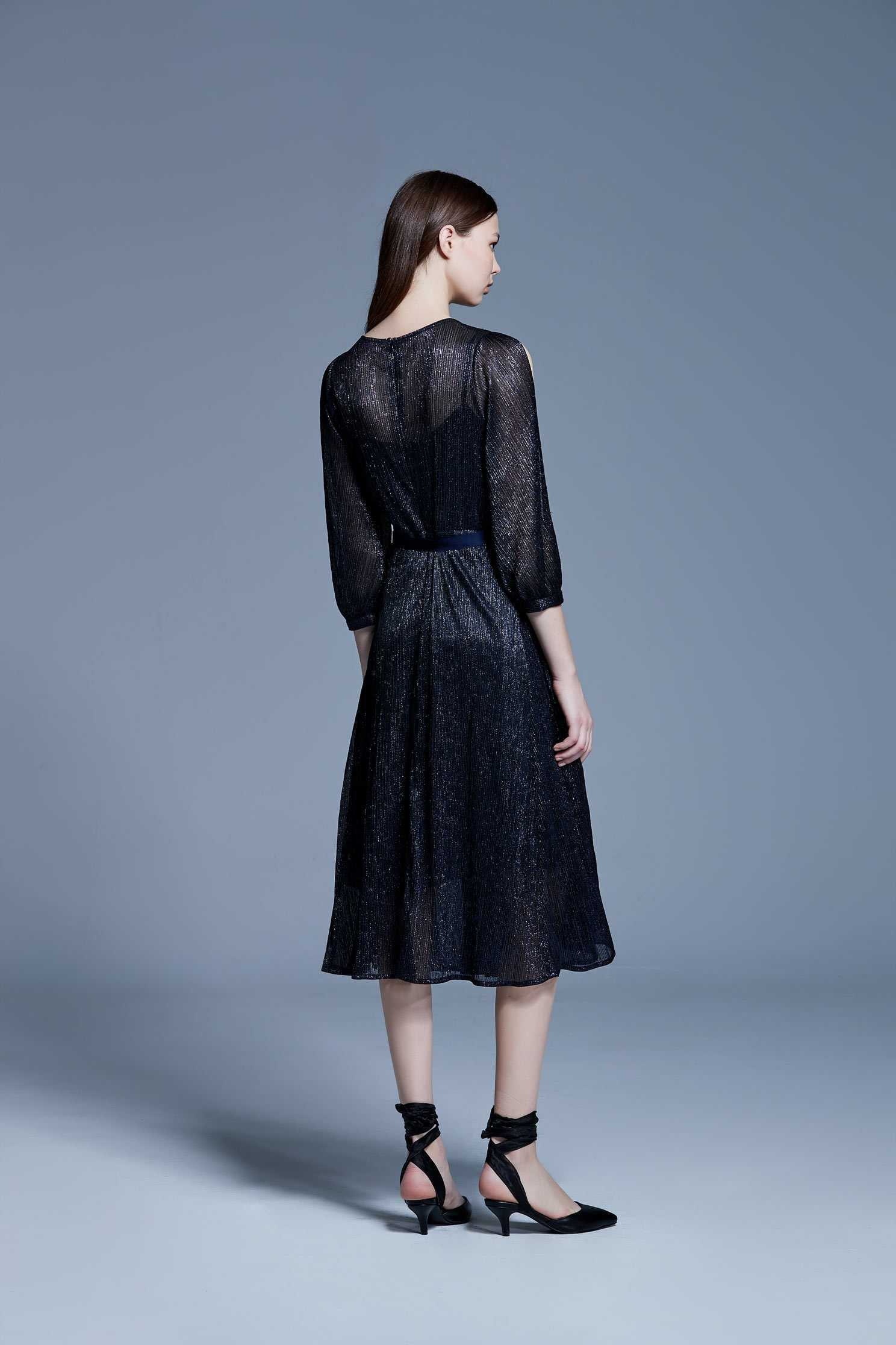 Pleated off-shoulder dress,V-neck dress,Cocktail Dress,Evening Wear,Long dress,長袖洋裝,Black dress