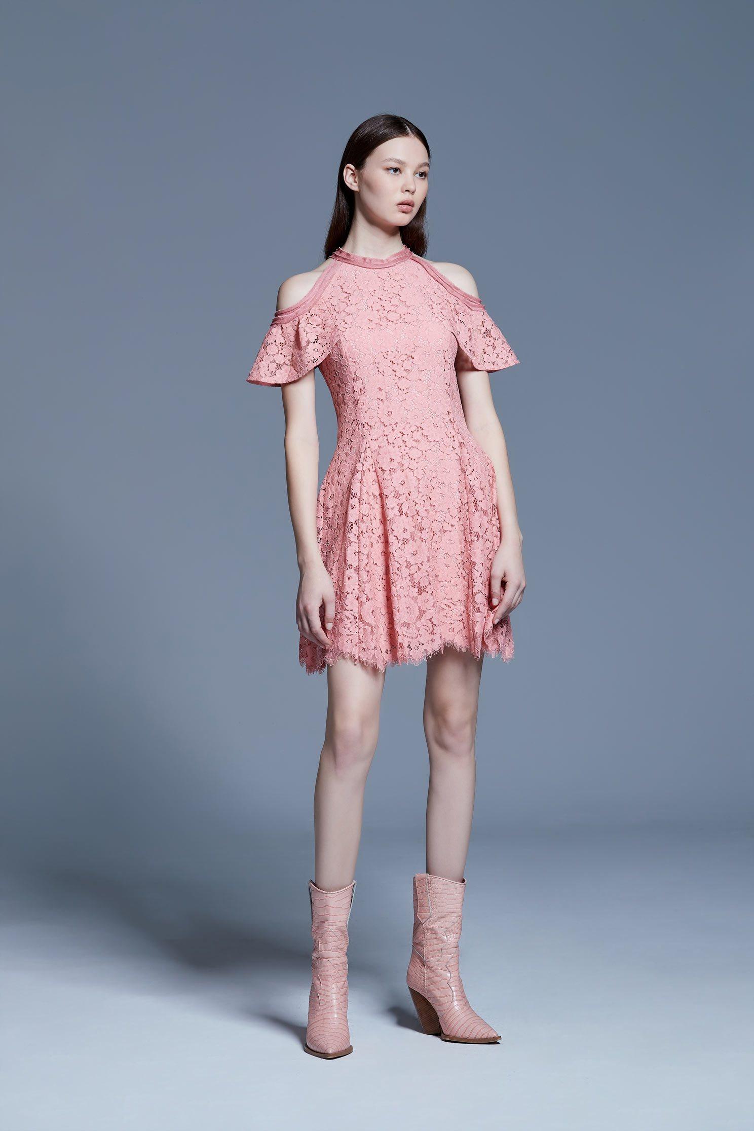 Pink lace off-shoulder short dress,V-neck dress,Cocktail Dress,Evening Wear,Lace,Lace Dress,透膚洋裝