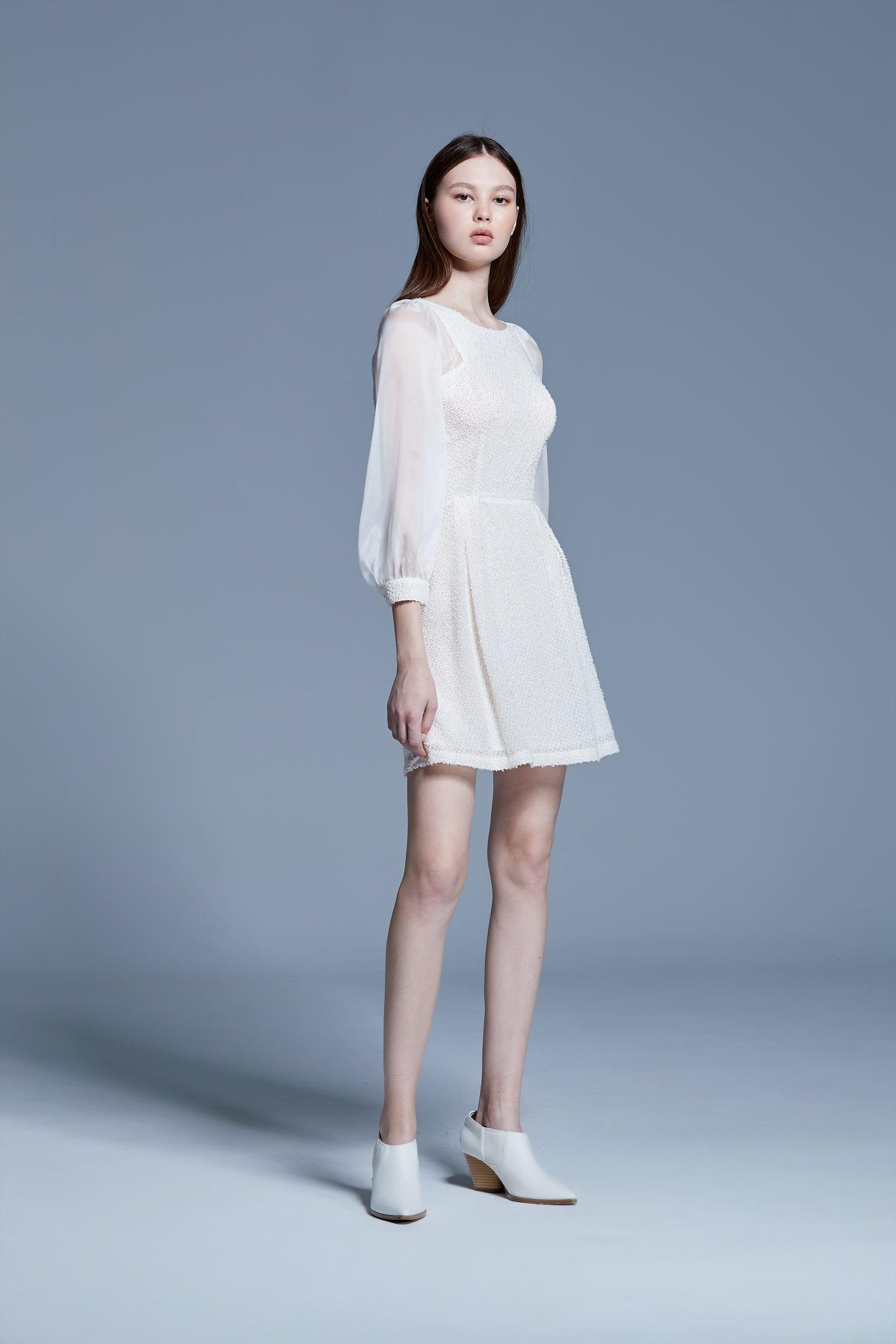 Feather gold silk dress,Cocktail Dress,White dress,Evening Wear,長袖洋裝
