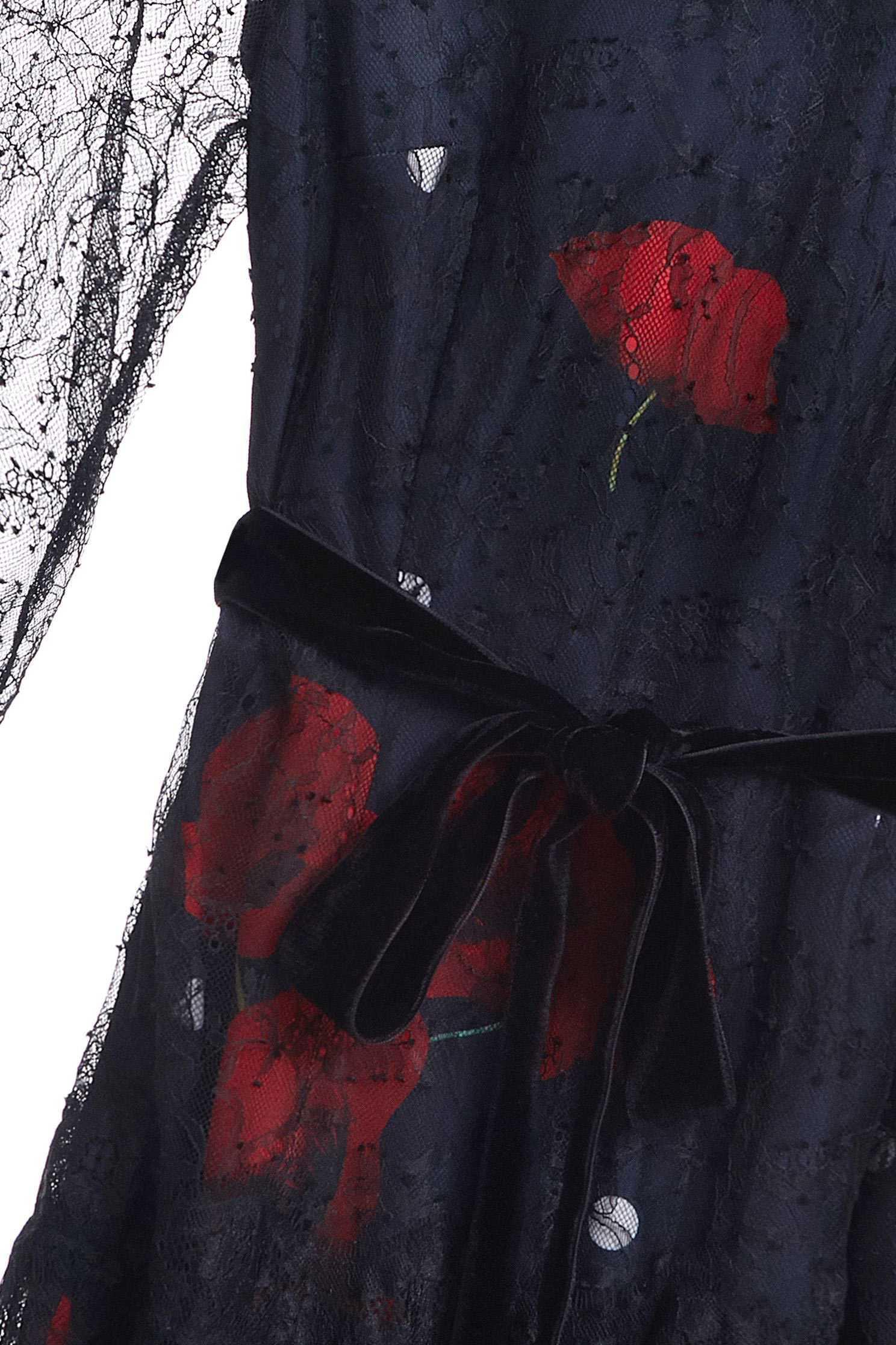 Net yarn stitching printed dress,印花洋裝,Cocktail Dress,Evening Wear,Mesh,透膚洋裝,Black dress