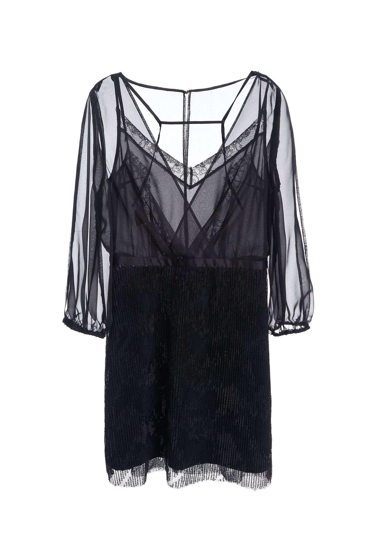 Organza sequin dress,Cocktail Dress,Evening Wear,細肩帶洋裝,透膚洋裝,Black dress