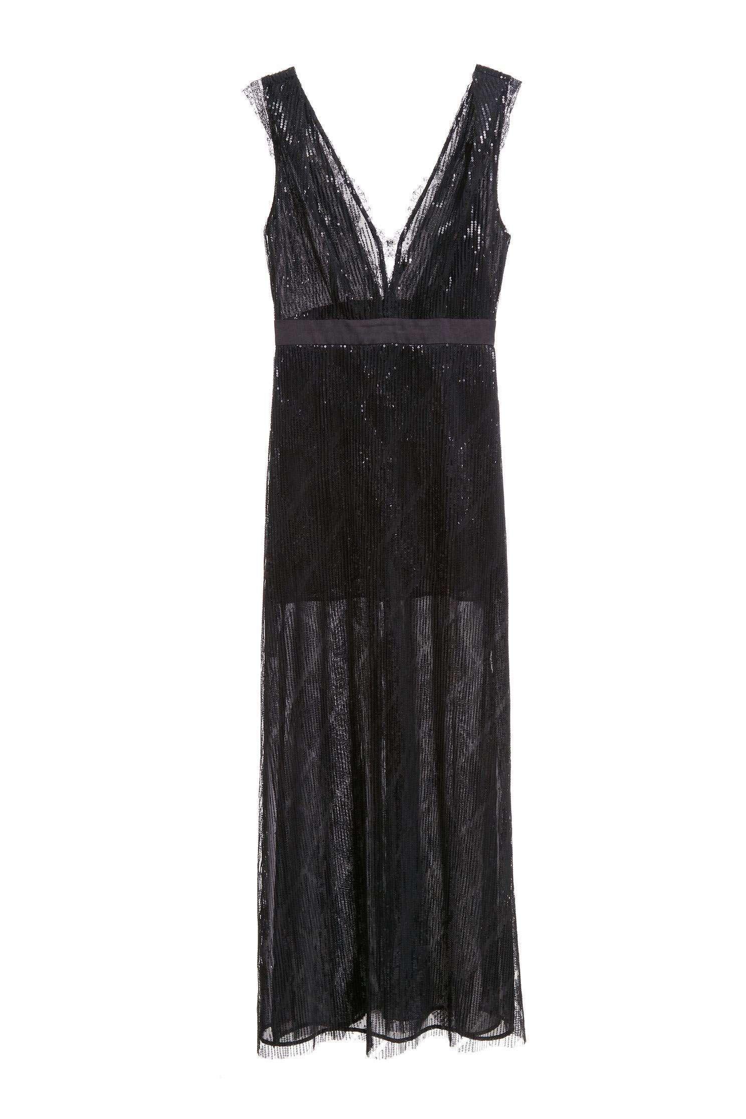 Black sequinlace gown,V-neck dress,Cocktail Dress,無袖洋裝,Evening Wear,Lace,Lace Dress,Long dress,Black dress