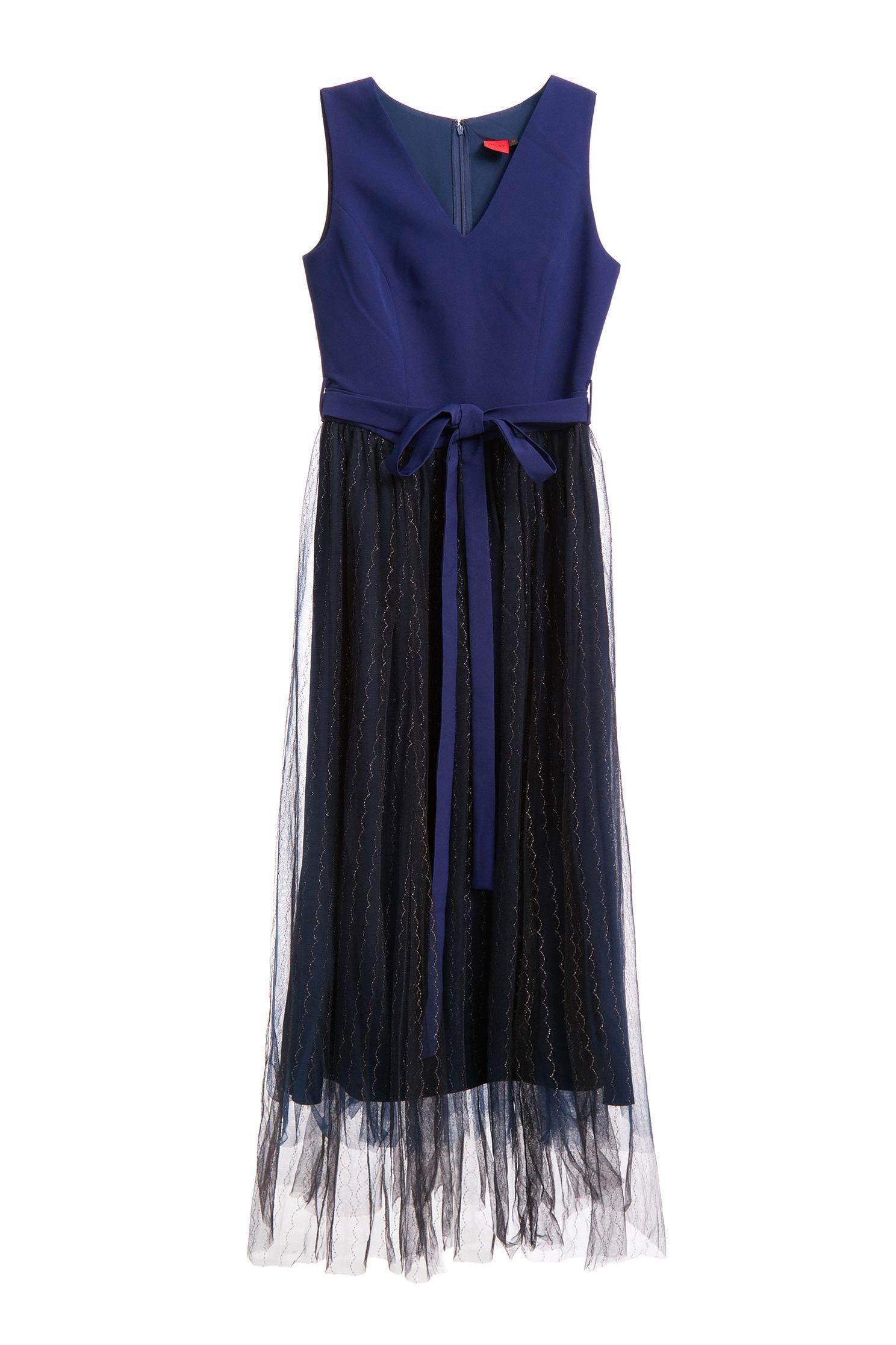 V-neck gauze stitching sleeveless dress