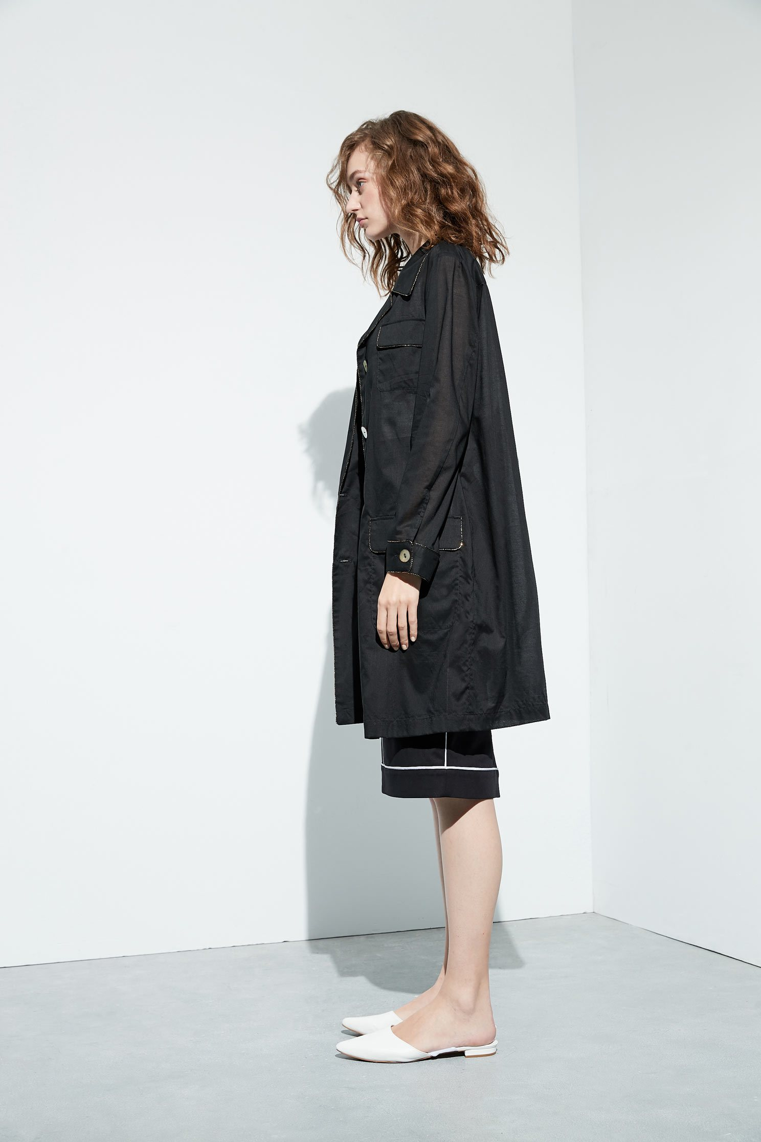 Elegant lapel classic jacket,外套,Cotton,long coat,長袖外套,黑色外套