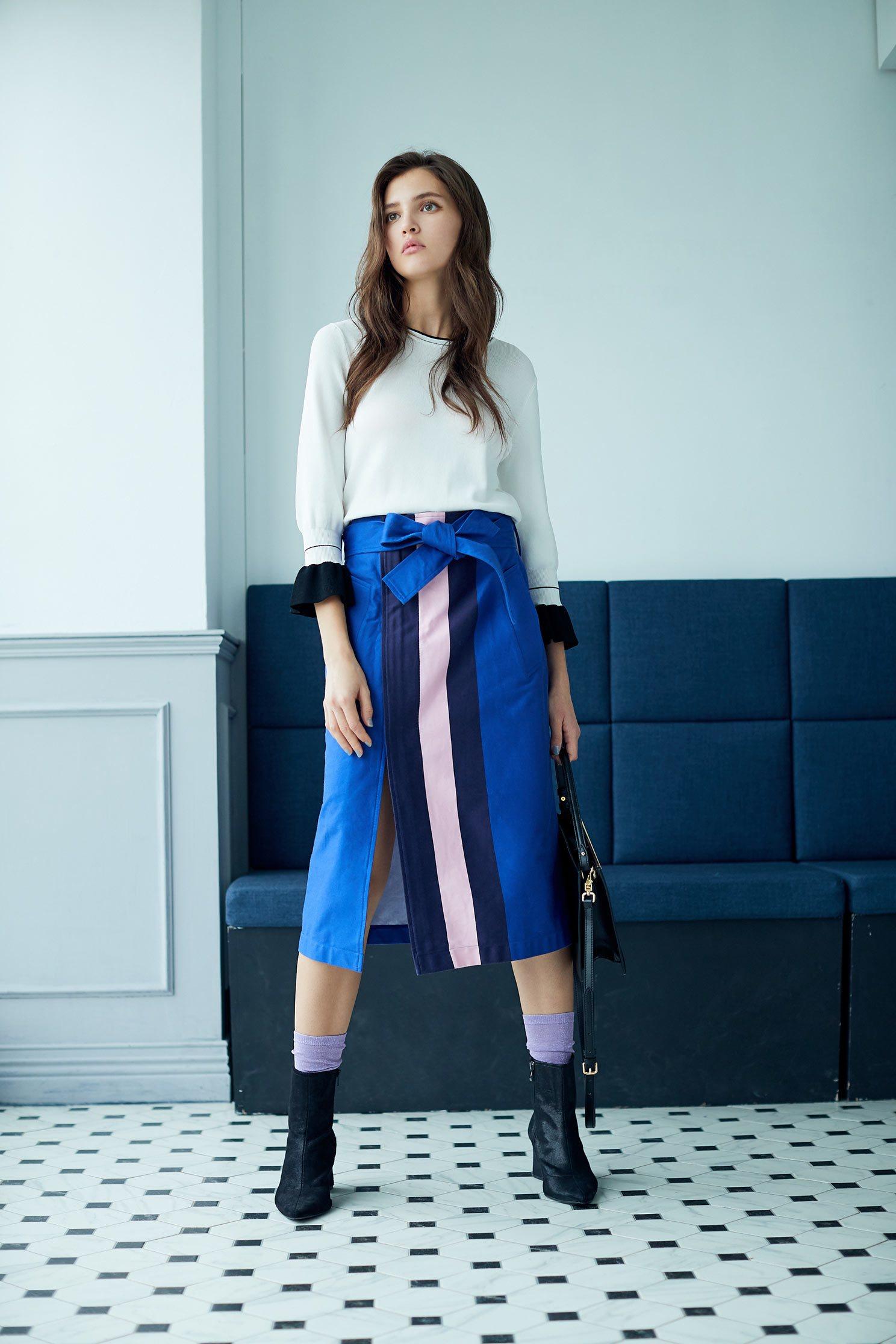 Contrast color  mid-length skirt,longskirt