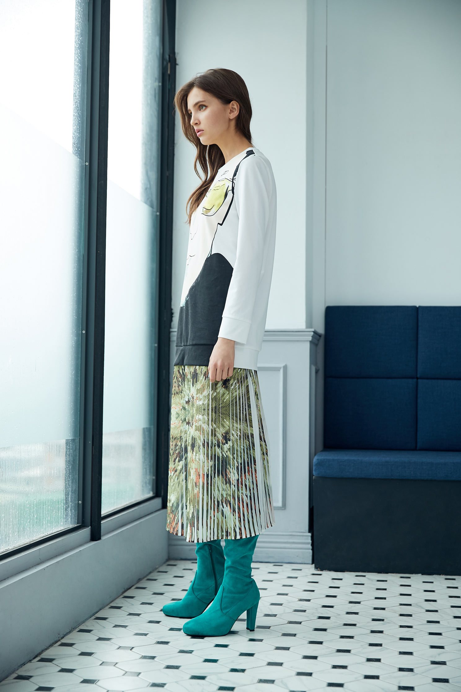 Elegant pleated maxi-skirt,百折,Pleated Skirt,Maxi Pleated Skirt,Long Skirt