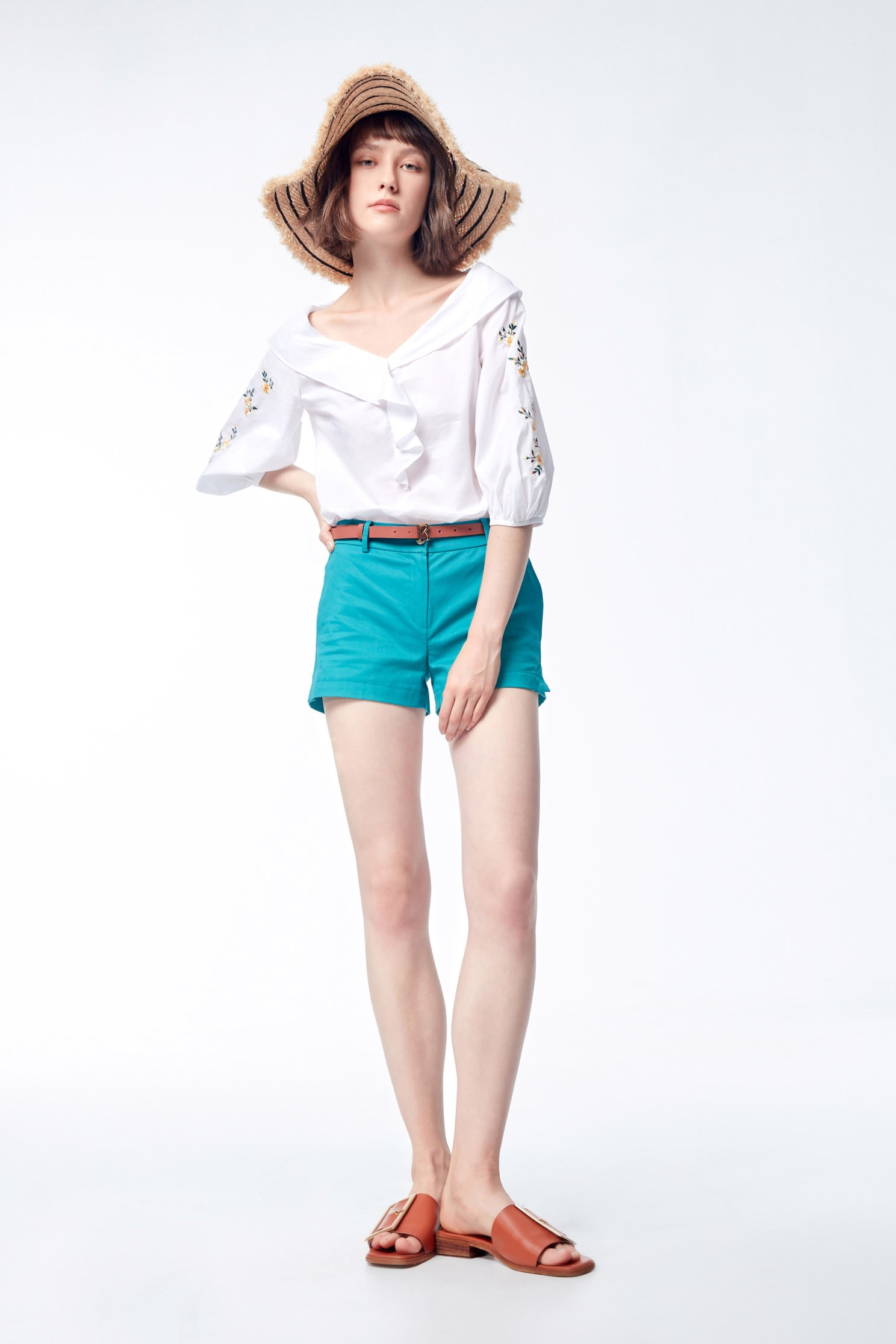 Blue-green shorts with button,shorts,cotton,pants