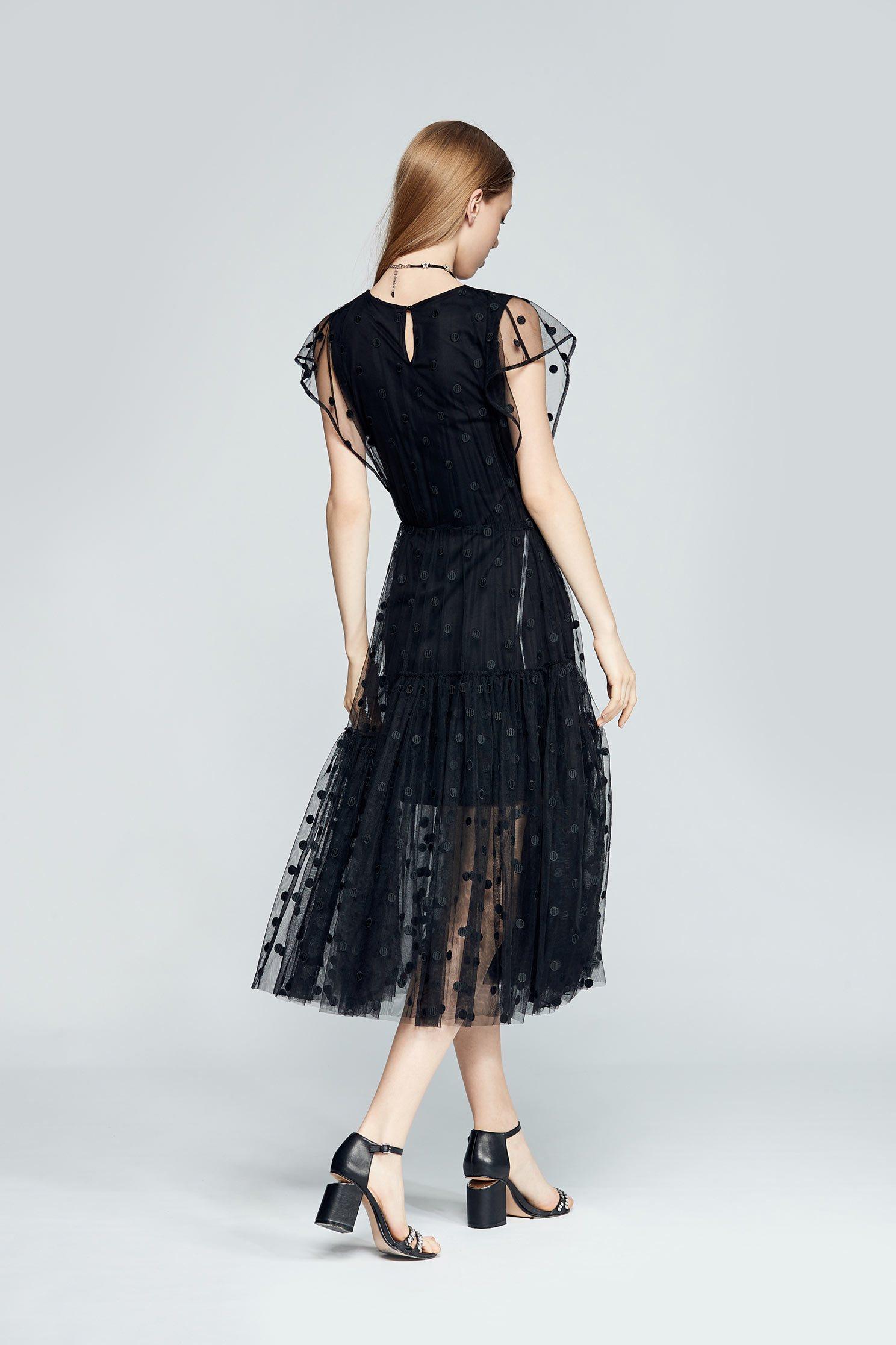 Poka dot design dress,sleevelessdress,cotton,perspectivedress,blackdress