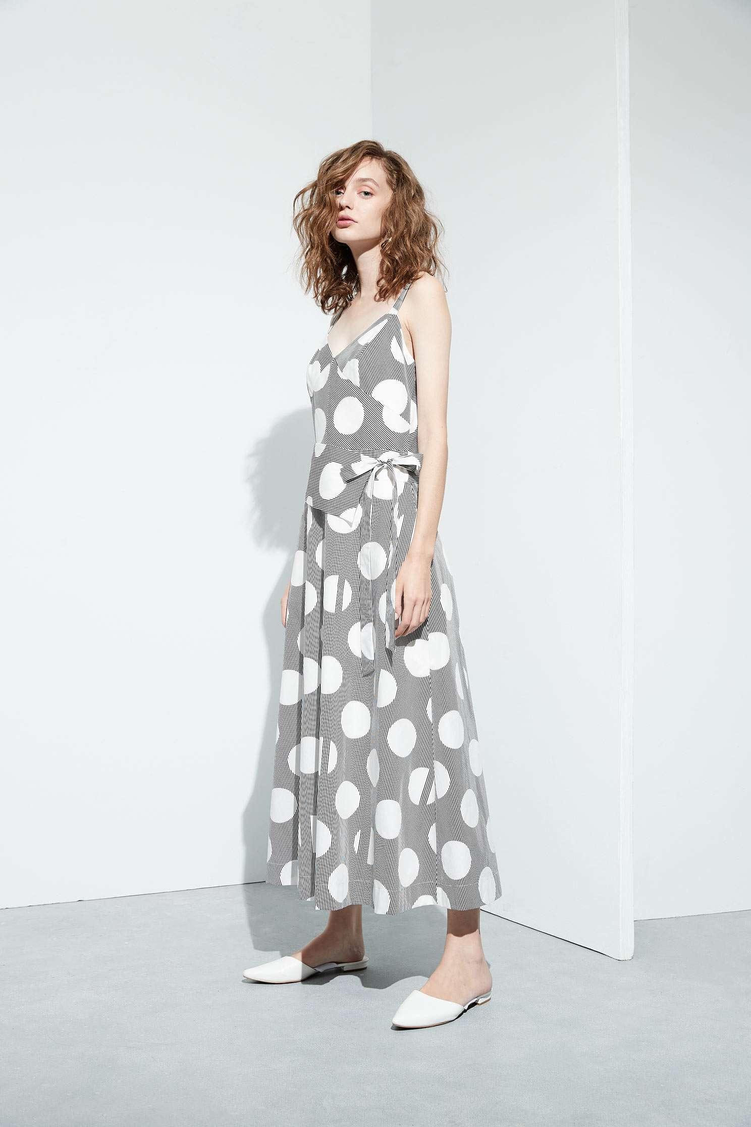 Polka dots slip dress,casualdress,sleevelessdress,spaghettistrapdress