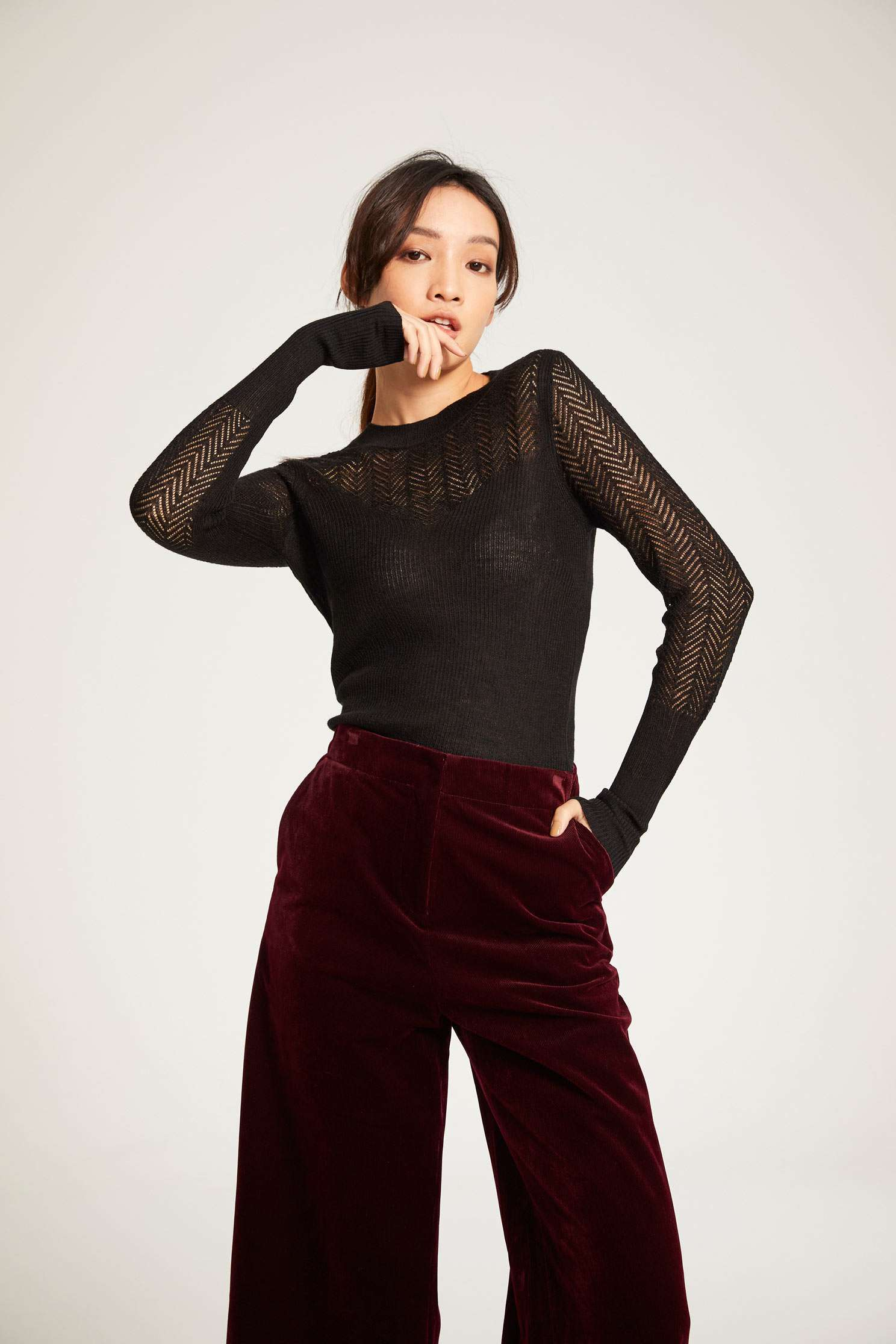 High-necked knitwear,圓領上衣,簍空上衣,Fantasy purple,knitting,Knitted top,Knitted Top,Turtleneck top,黑色上衣