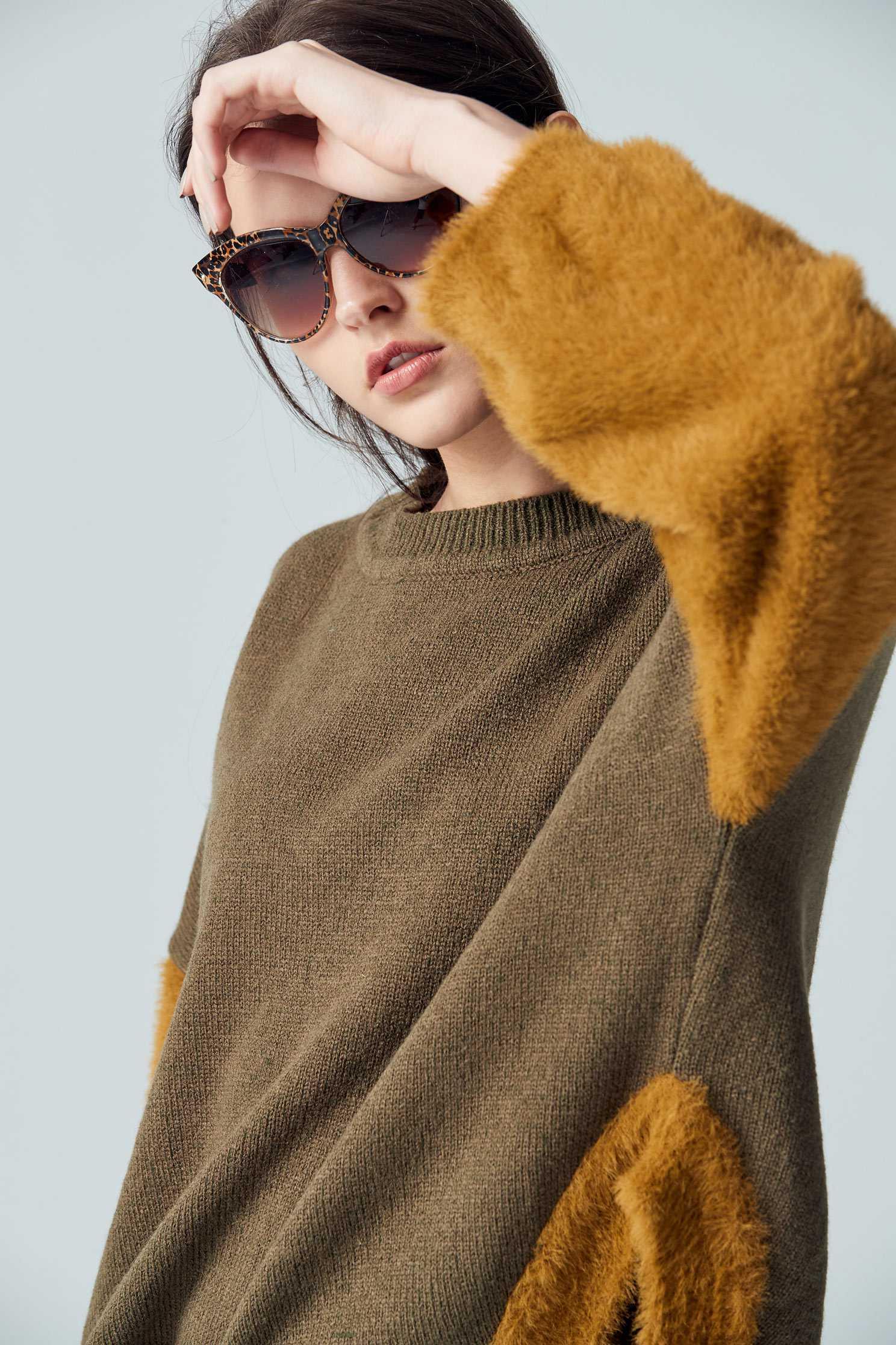 Stitching fashion top,top,roundnecktop,longsleevetop