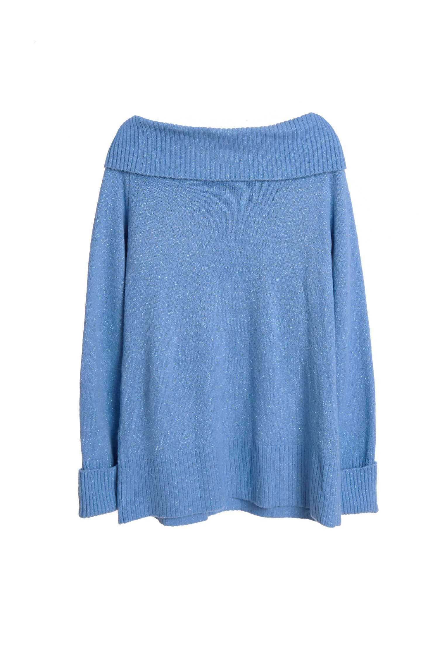 Blue glitter knitted Off-shoulder top,pantoneblue,offshouldertop,top,offshouldertop,shouldertop,knitting,knittedtop,knittedtop,longsleevetop