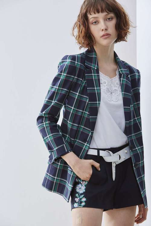 Lapel plaid woman fashion jacket