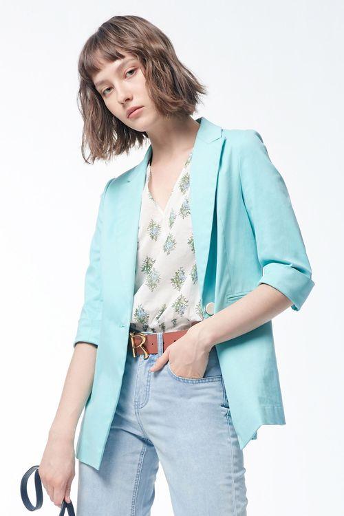 Blue-green buttons decorate suit jacket,cardigan,knitting,knittedjacket,outerwear,blazer